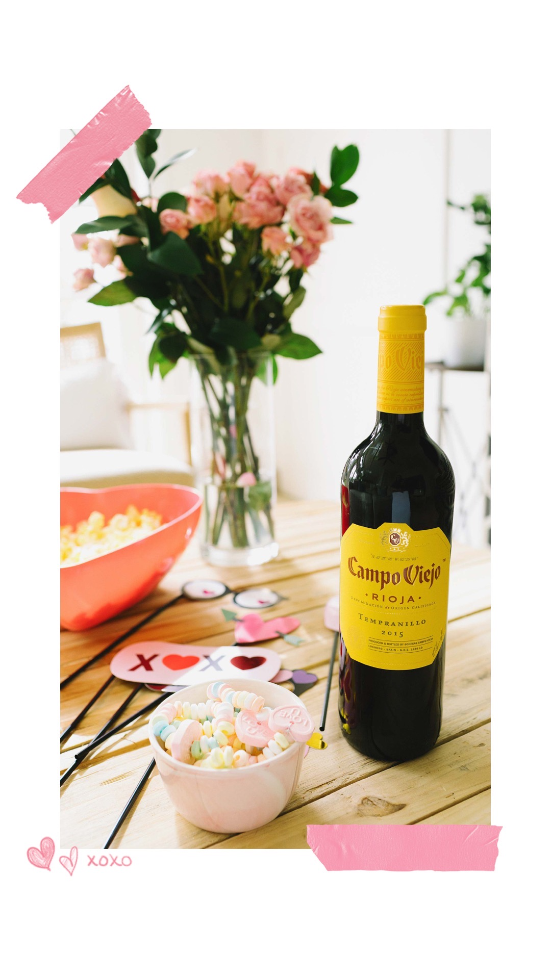 wine for valentine's day galentine's day heart bowl and candy bracelets