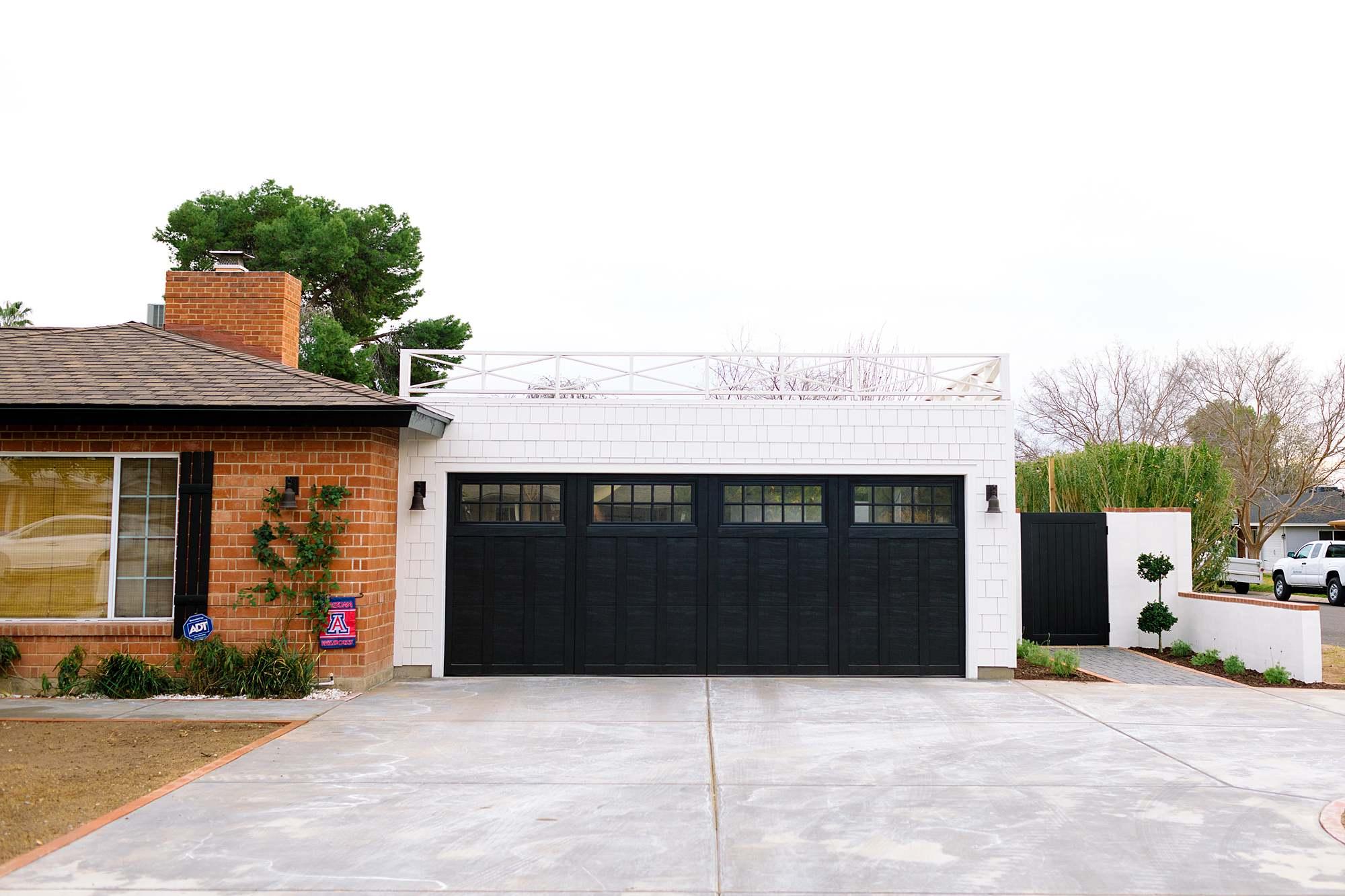 flat roof garage ideas white black house red brick railing on garage phoenix home blog Diana Elizabeth