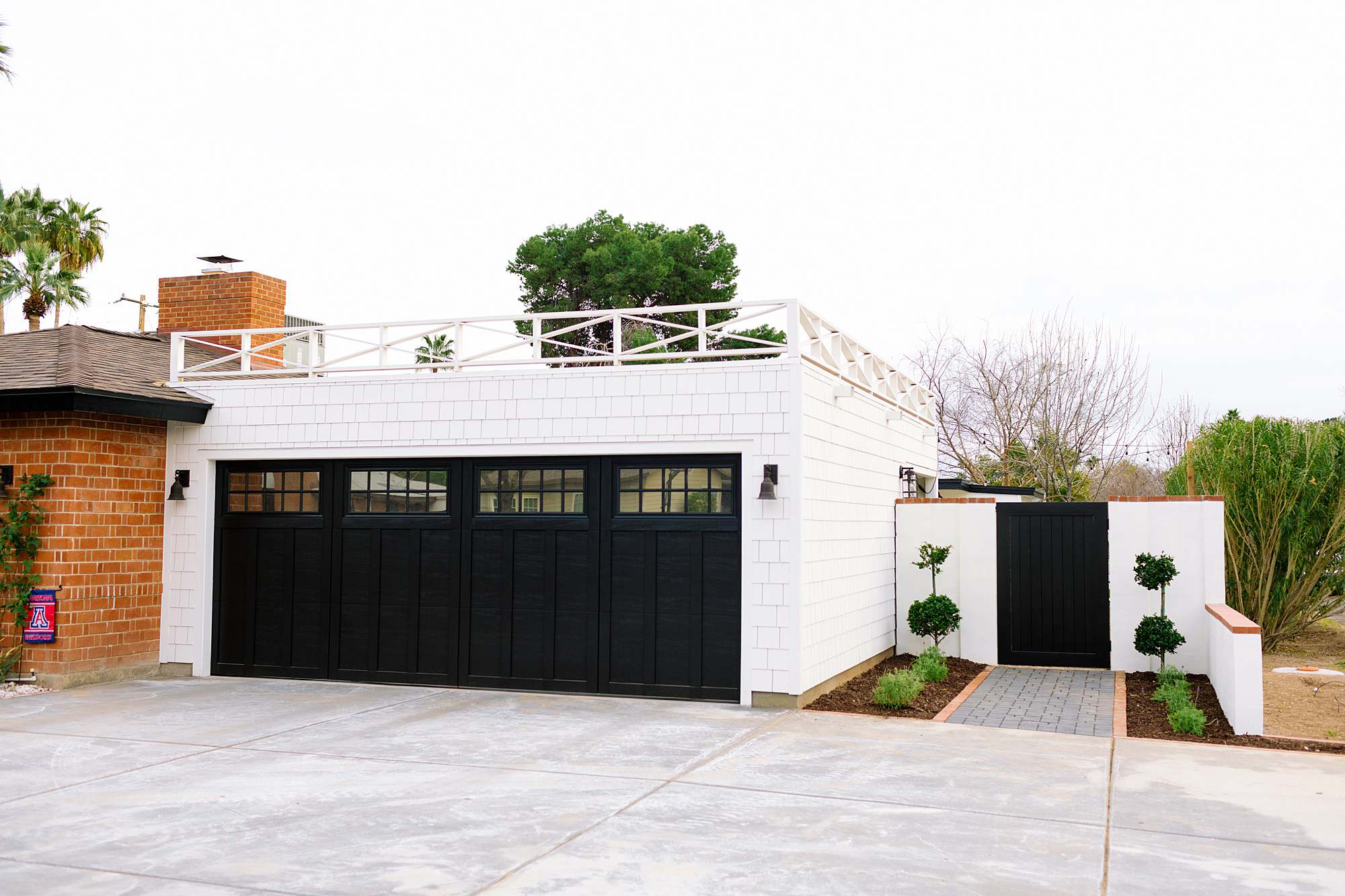 flat roof garage design idea - see blog post for photos and the garden reveal