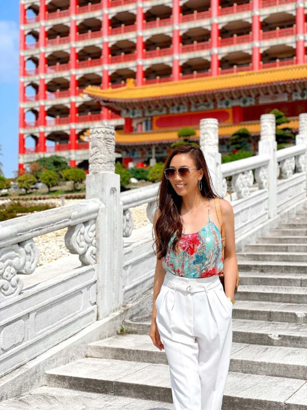 Badgley Mischka floral sequin top on lifestyle blogger Diana Elizabeth