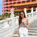 Badgley Mischka floral sequin top on lifestyle blogger Diana Elizabeth