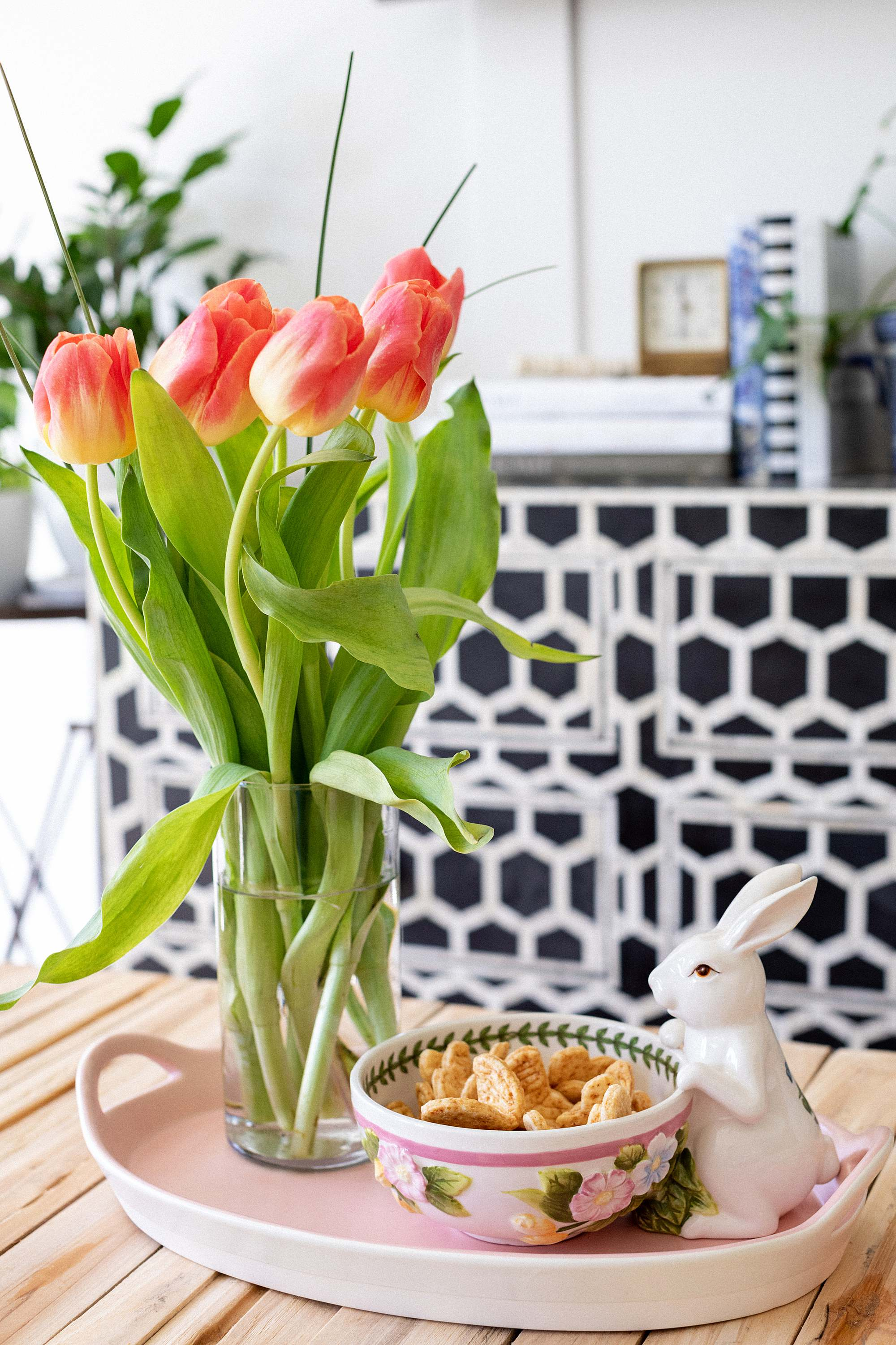 bunny bowl for easter from Macys, tulips on the coffee table, pink tray. interior home blog phoenix arizona