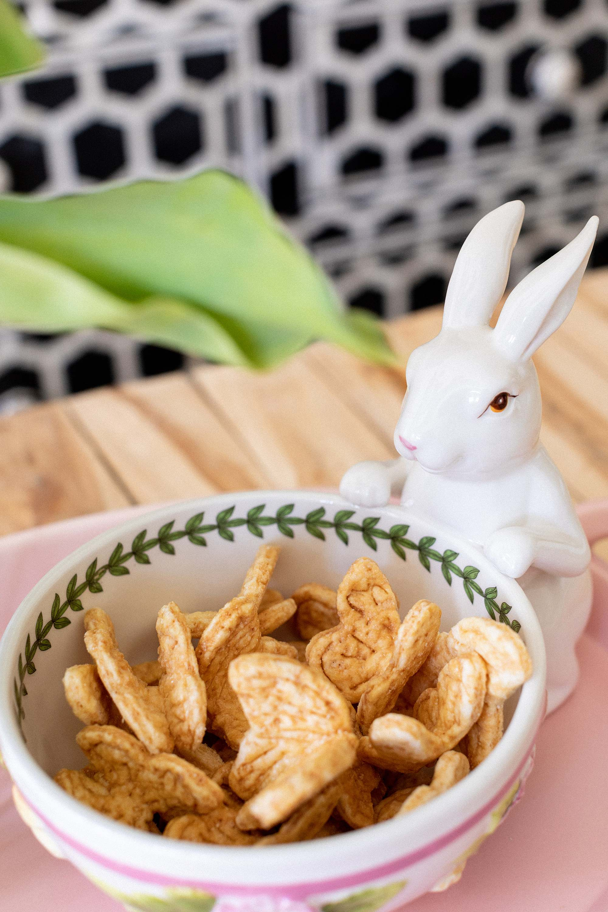 butterfly cookies in bunny bowl for easter ideas setting table - home and garden lifestyle blogger Diana Elizabeth