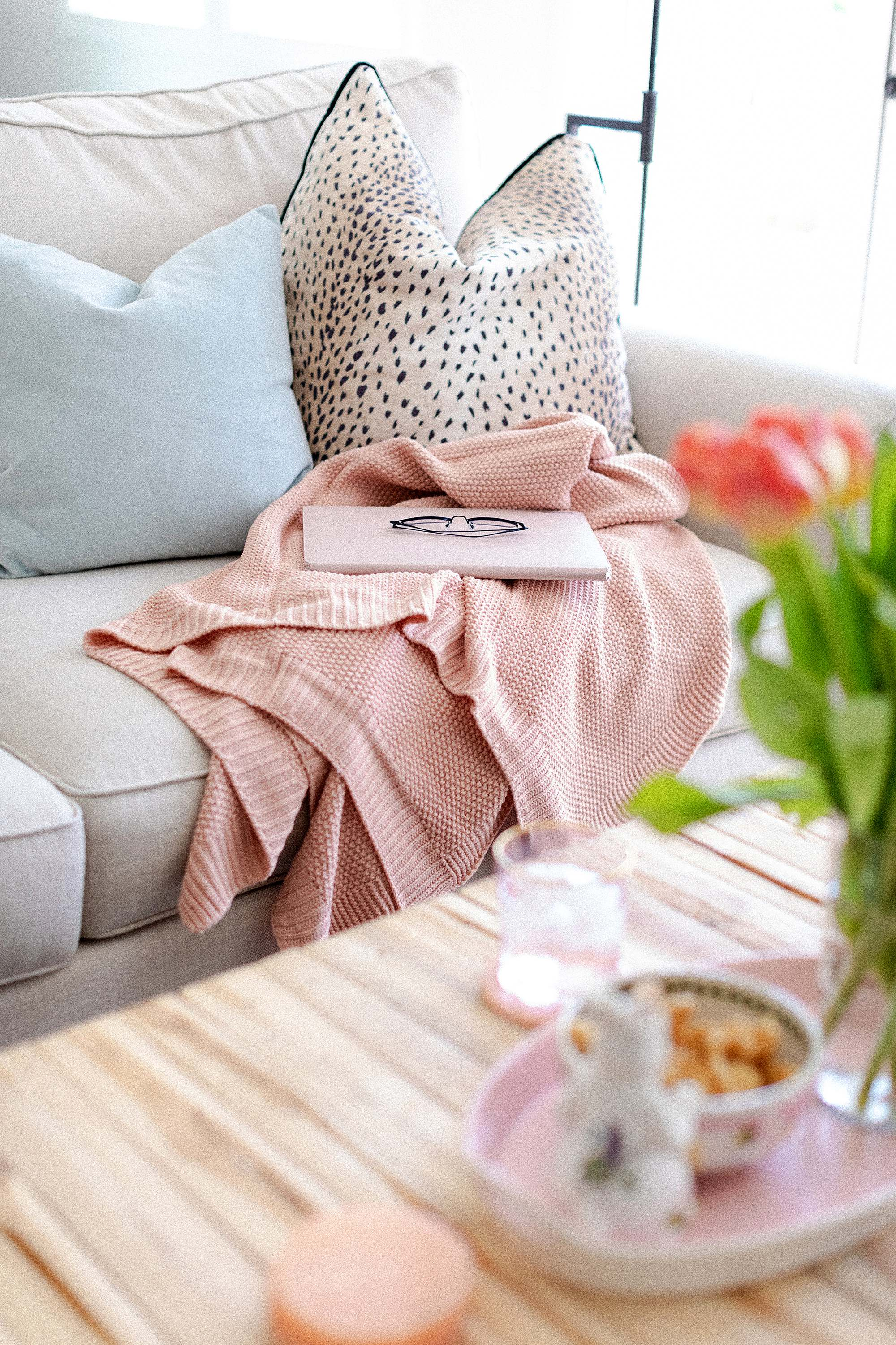 pink throw - lifestyle blogger Diana Elizabeth traditional home blog
