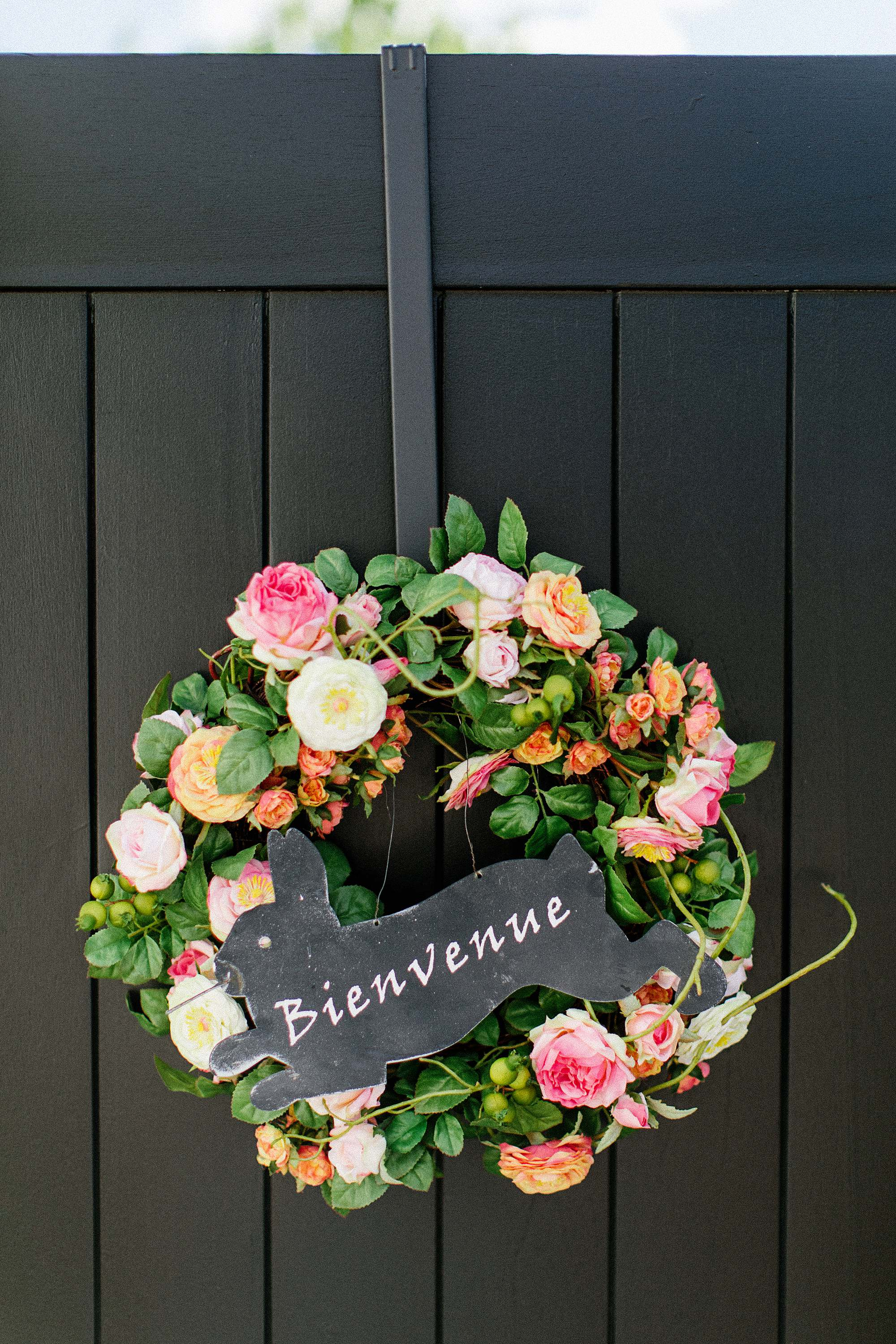 floral like realistic wreath for spring at Macys - black wood side gate, Phoenix Arizona lifestyle home garden blog