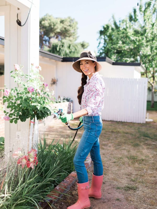 watering rose bush with lightweight hose // home and garden lifestyle blog