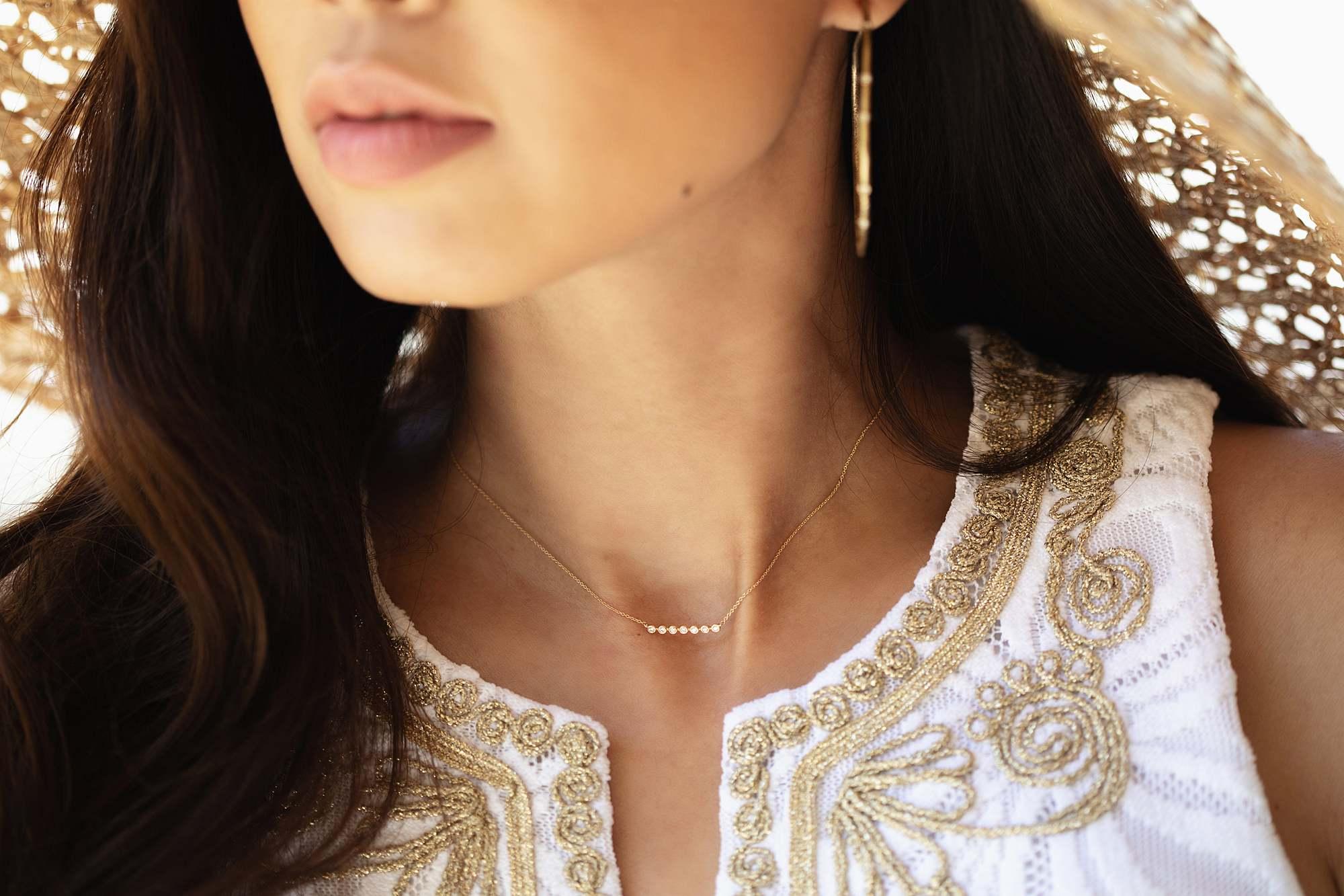 Lulu Jack Bezel Bar Necklace by dana Rebecca designs Lilly Pulitzer dress