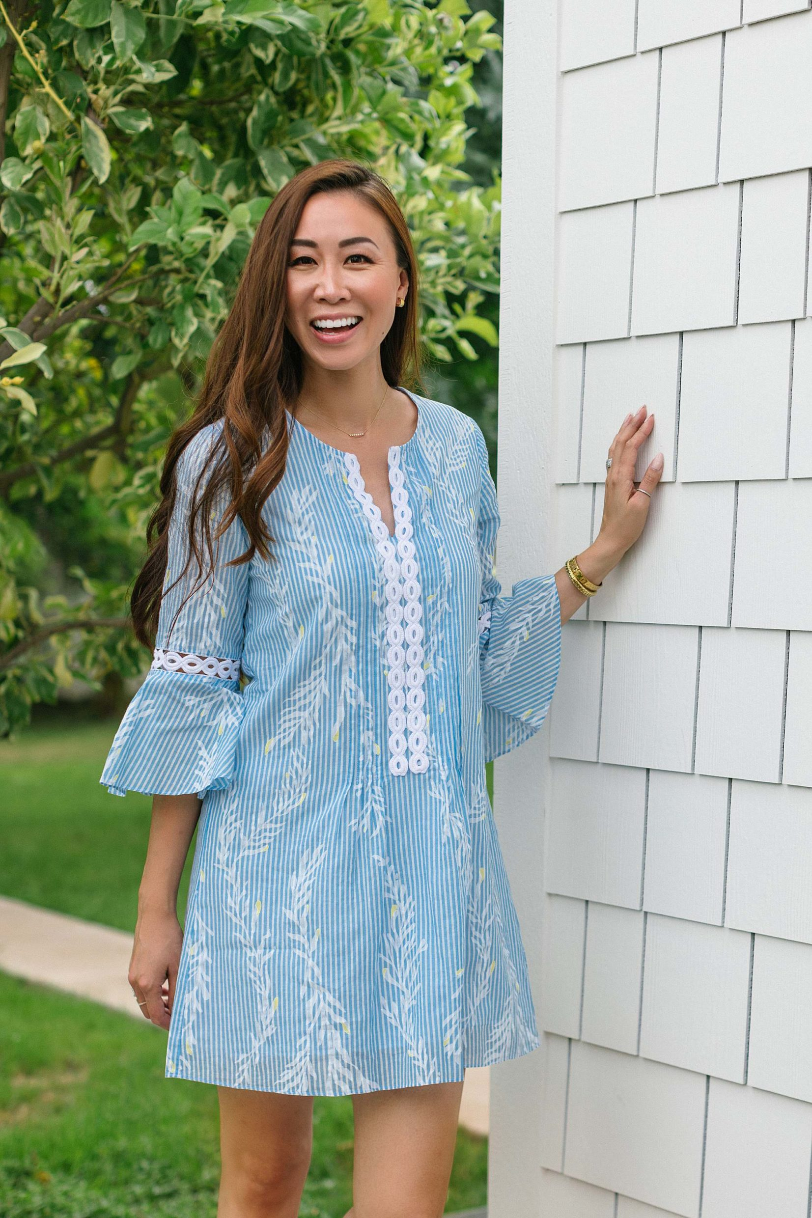 Hollie Tunic Dress lightweight cotton dress Lilly Pulitzer on Diana Elizabeth walking through orchard backyard