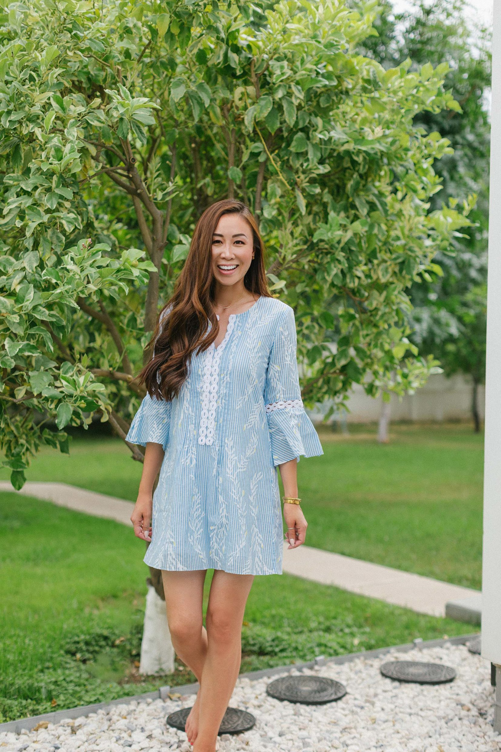 Hollie Tunic Dress lightweight cotton dress Lilly Pulitzer on Diana Elizabeth standing in orchard in backyard