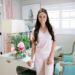 luxury lightweight loungewear - pink - skin. standing in home office