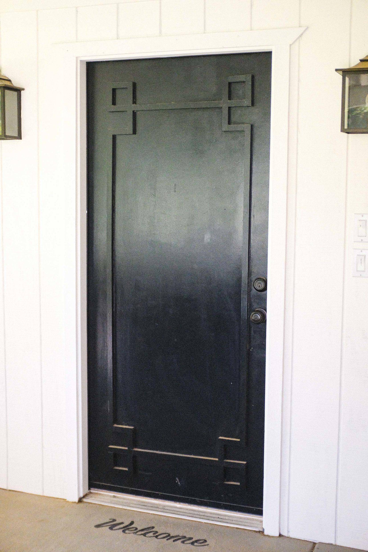 black detail on door