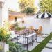 brick garden beds - lots of AFTER photos of new garden area, progression photos using artificial turf grass #garden #vinewall