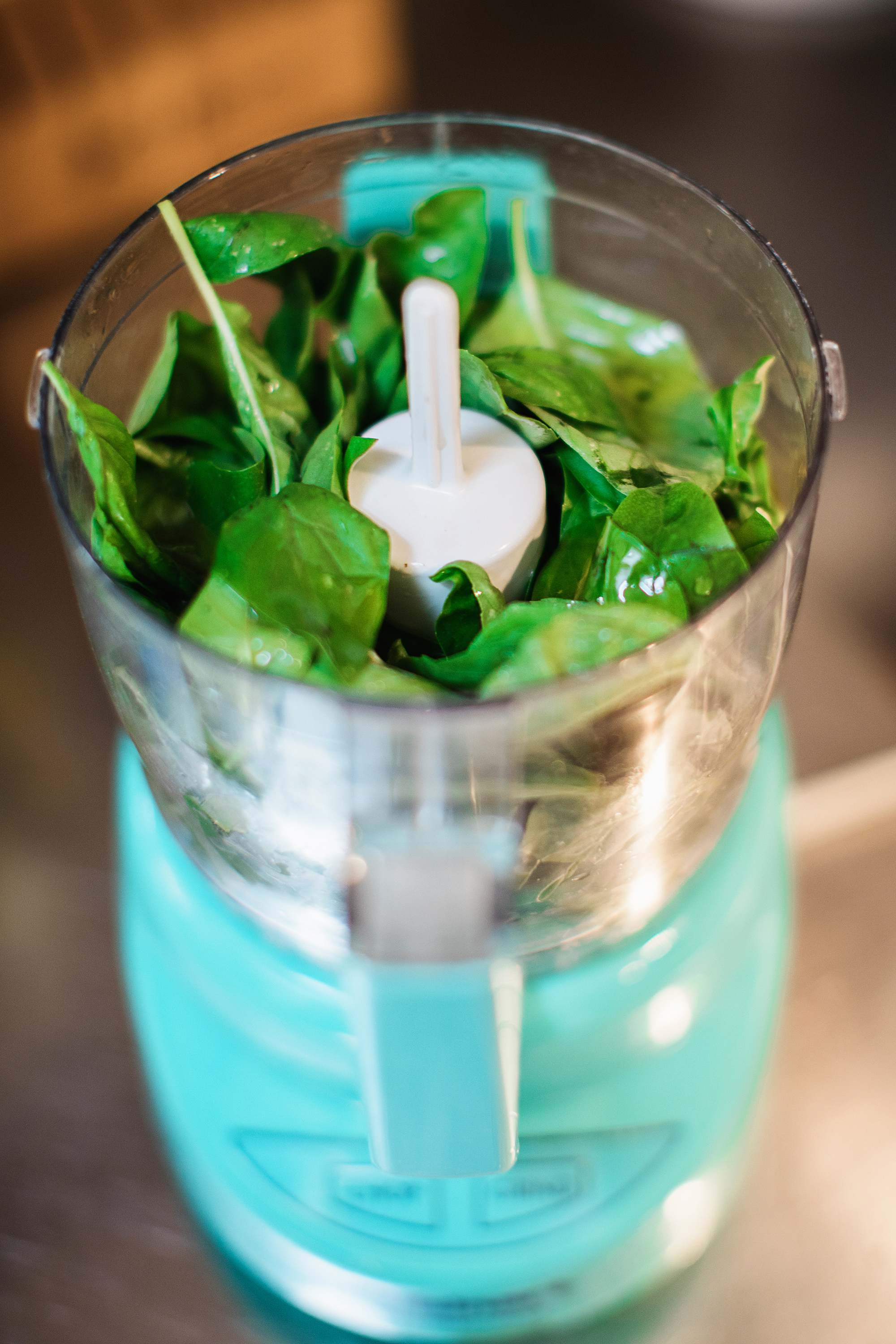 blend herbs in food processor to freeze herbs