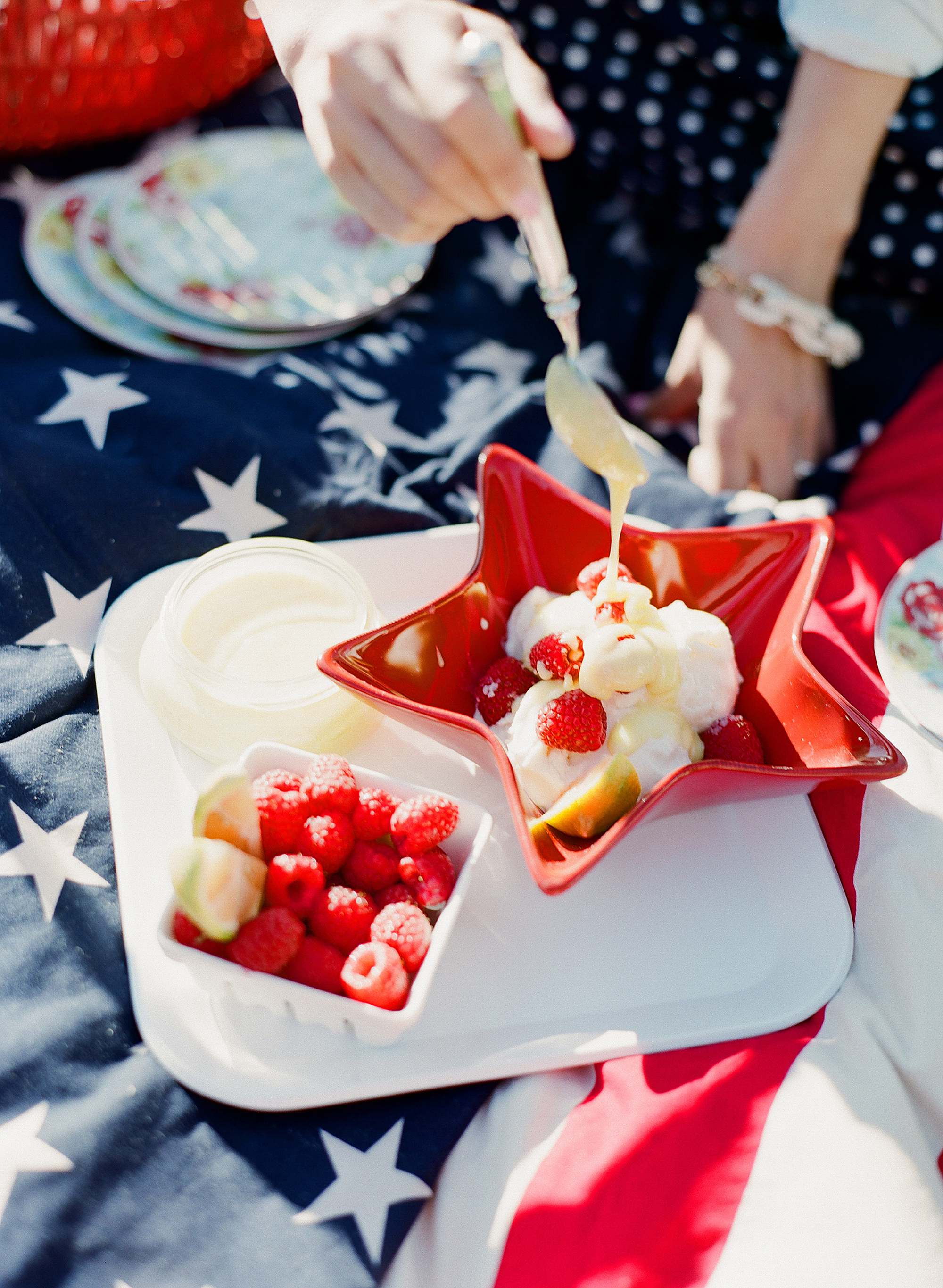 lemon curd Fourth of July Memorial Day weekend presidents day Veterans Day themed picnic patriot picnic home decor tables cape - American flag blanket stars and stripes