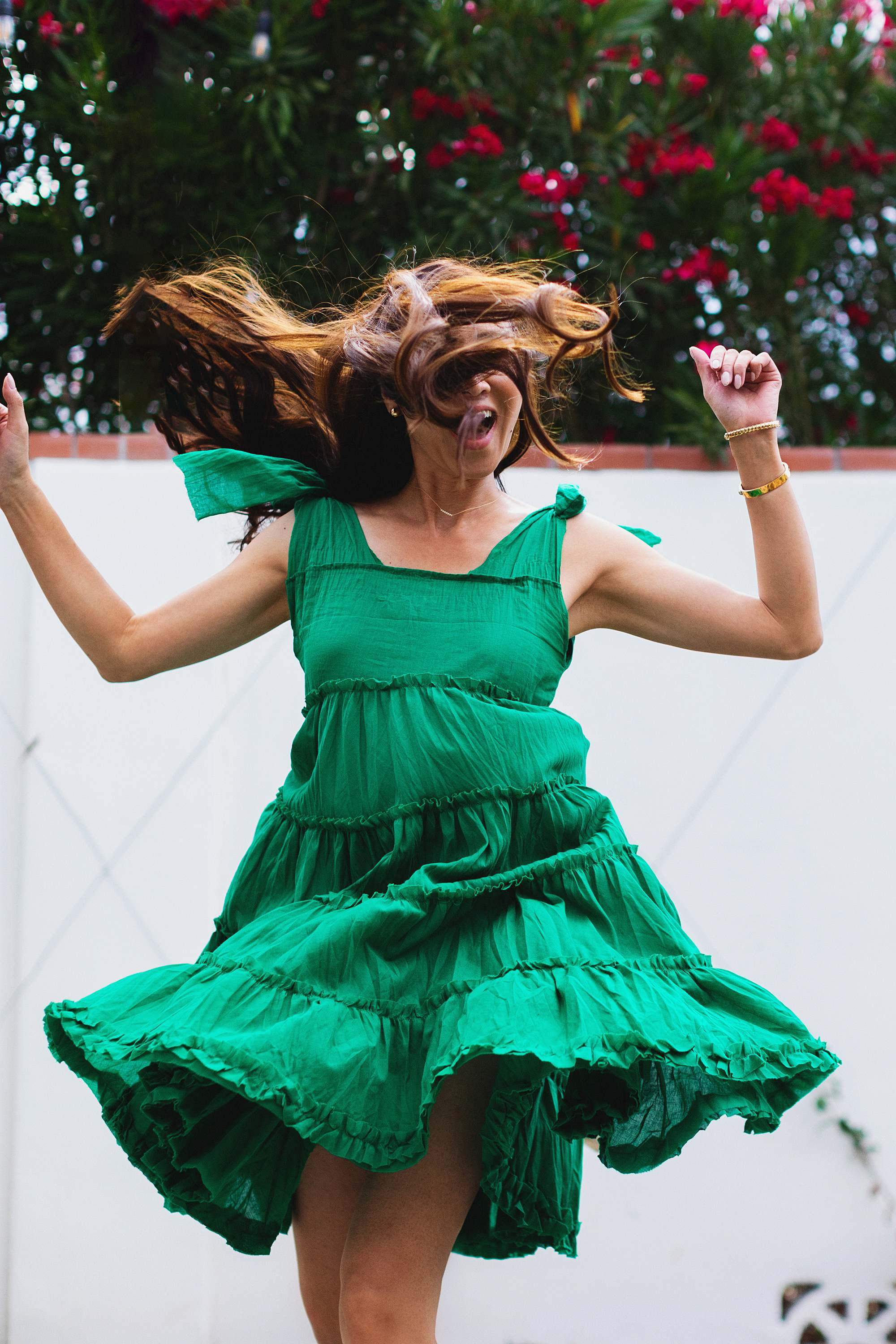 DIY frill dress made from a long skirt sewing adult craft #adultcraft green ruffle dress great for summer