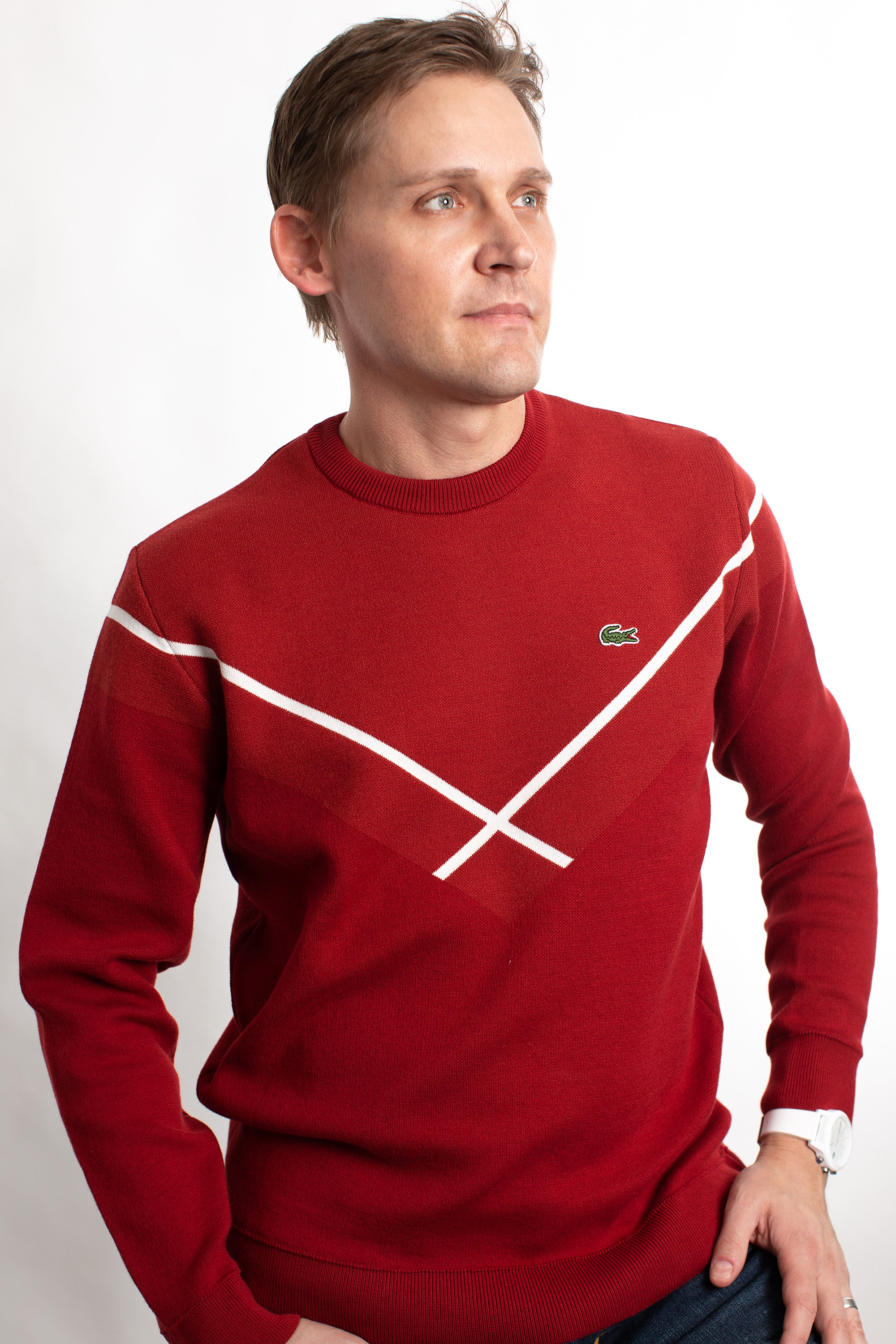red sweater Lacoste