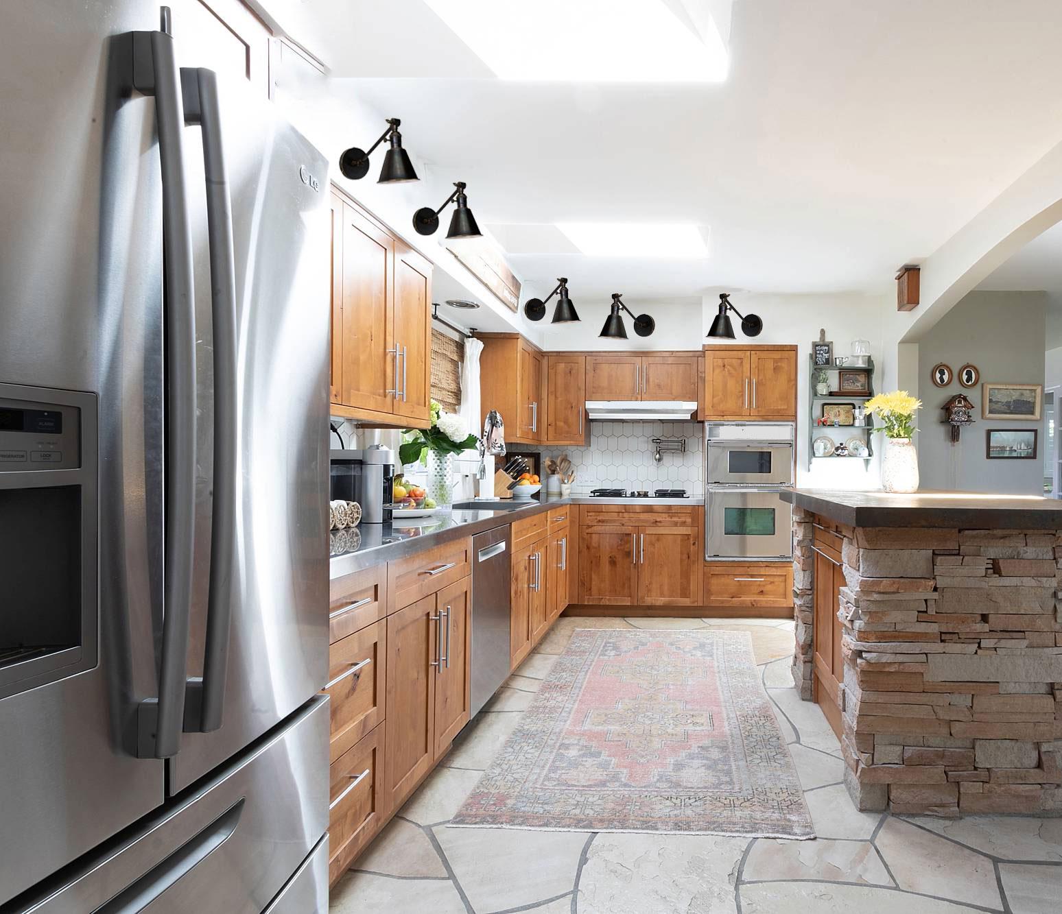 kitchen mock up with black bronze sconce