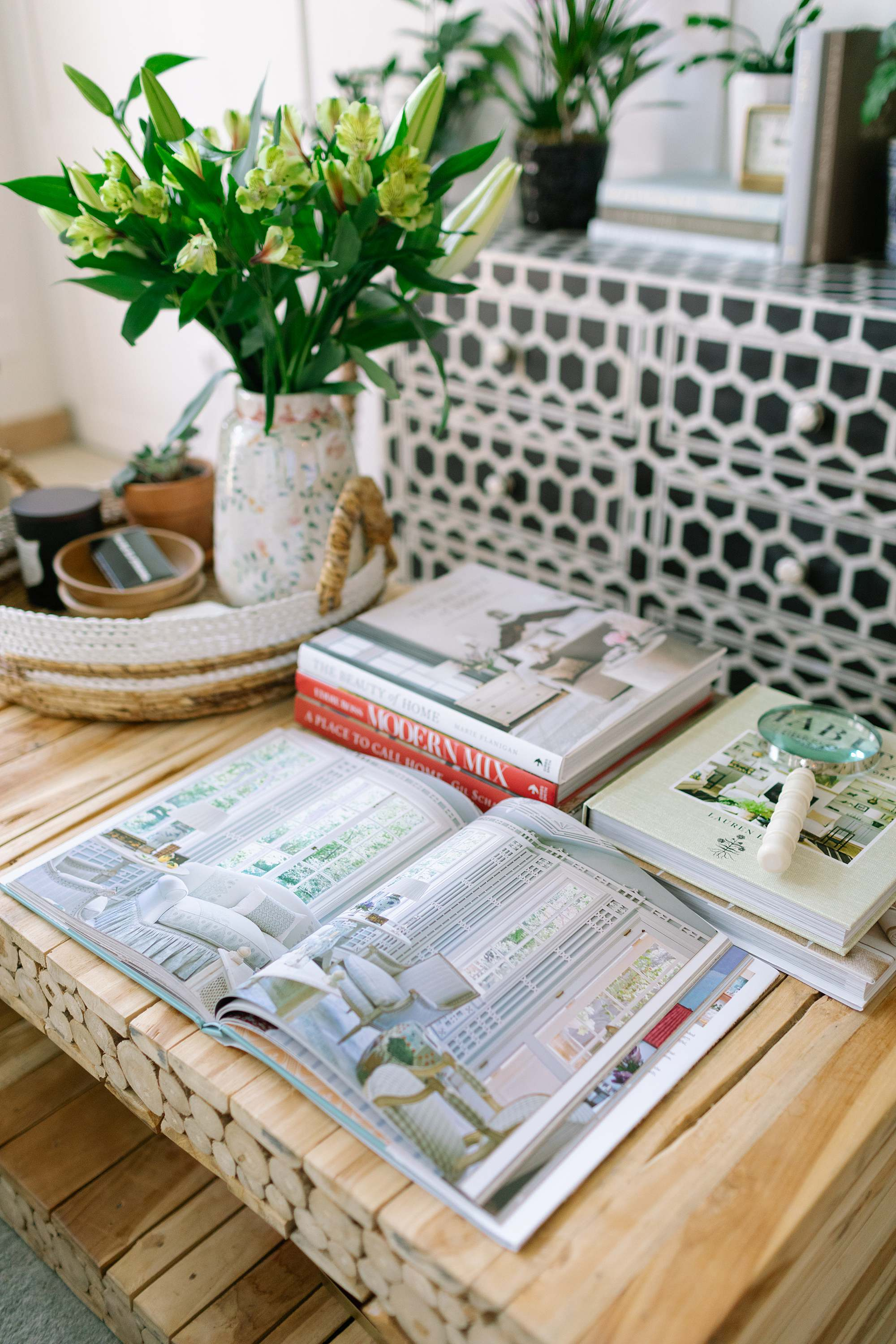 coffee table books on design leaving a page out - coffee table styling