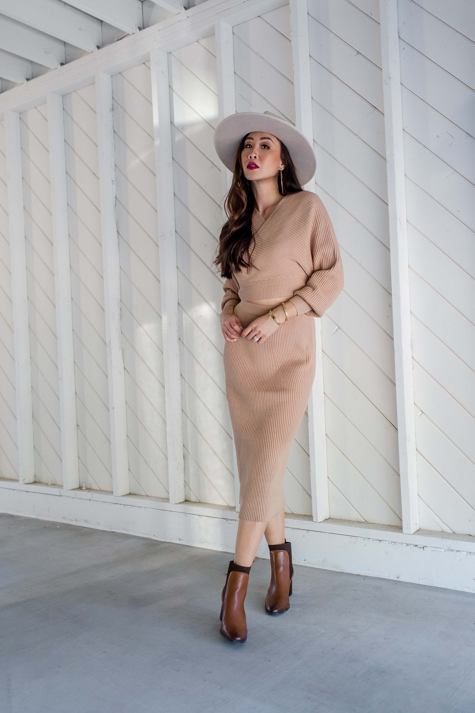 ribbed sweater and dress set for fall and ankle booties look