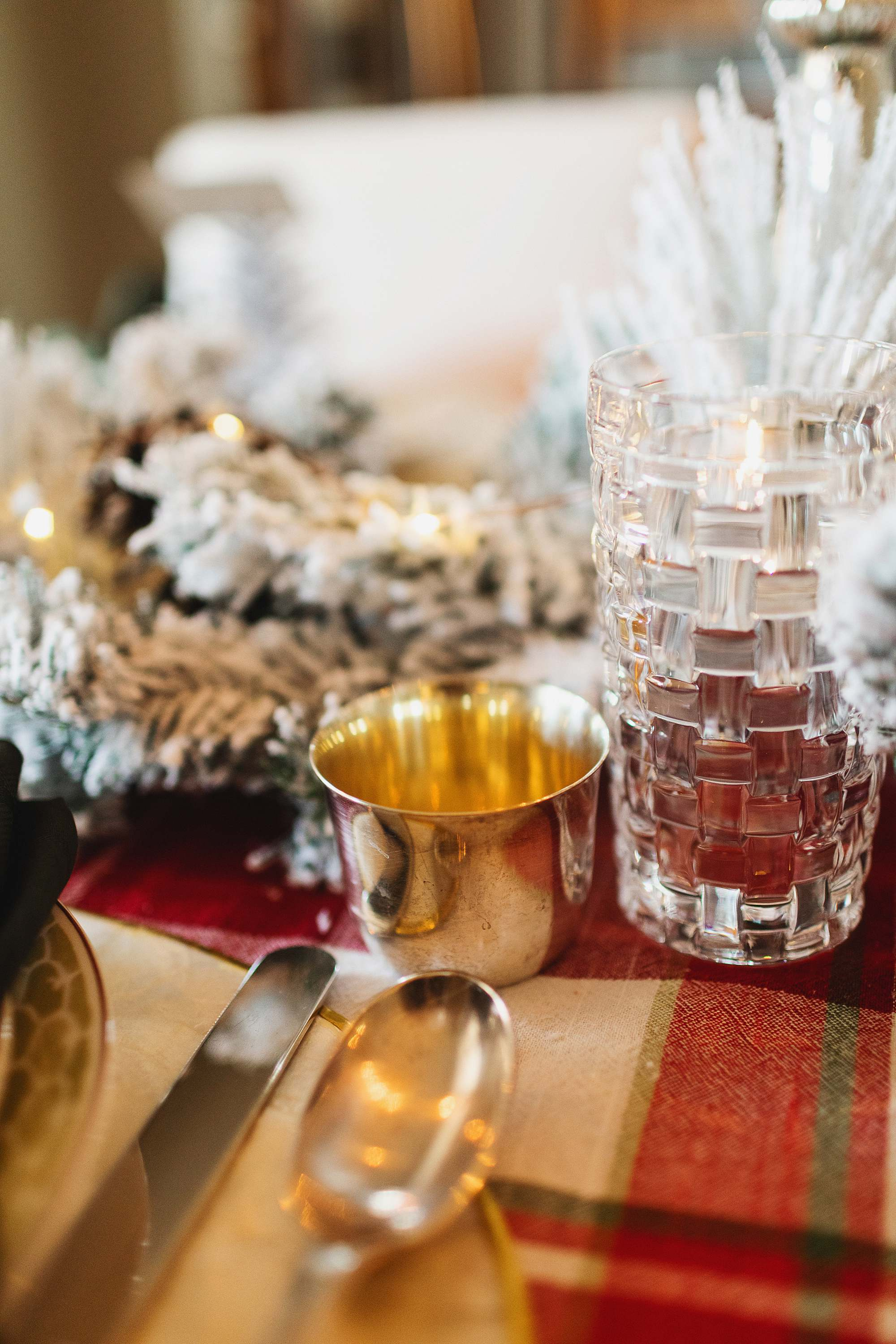 silver cups Christmas tablescpe decor traditional