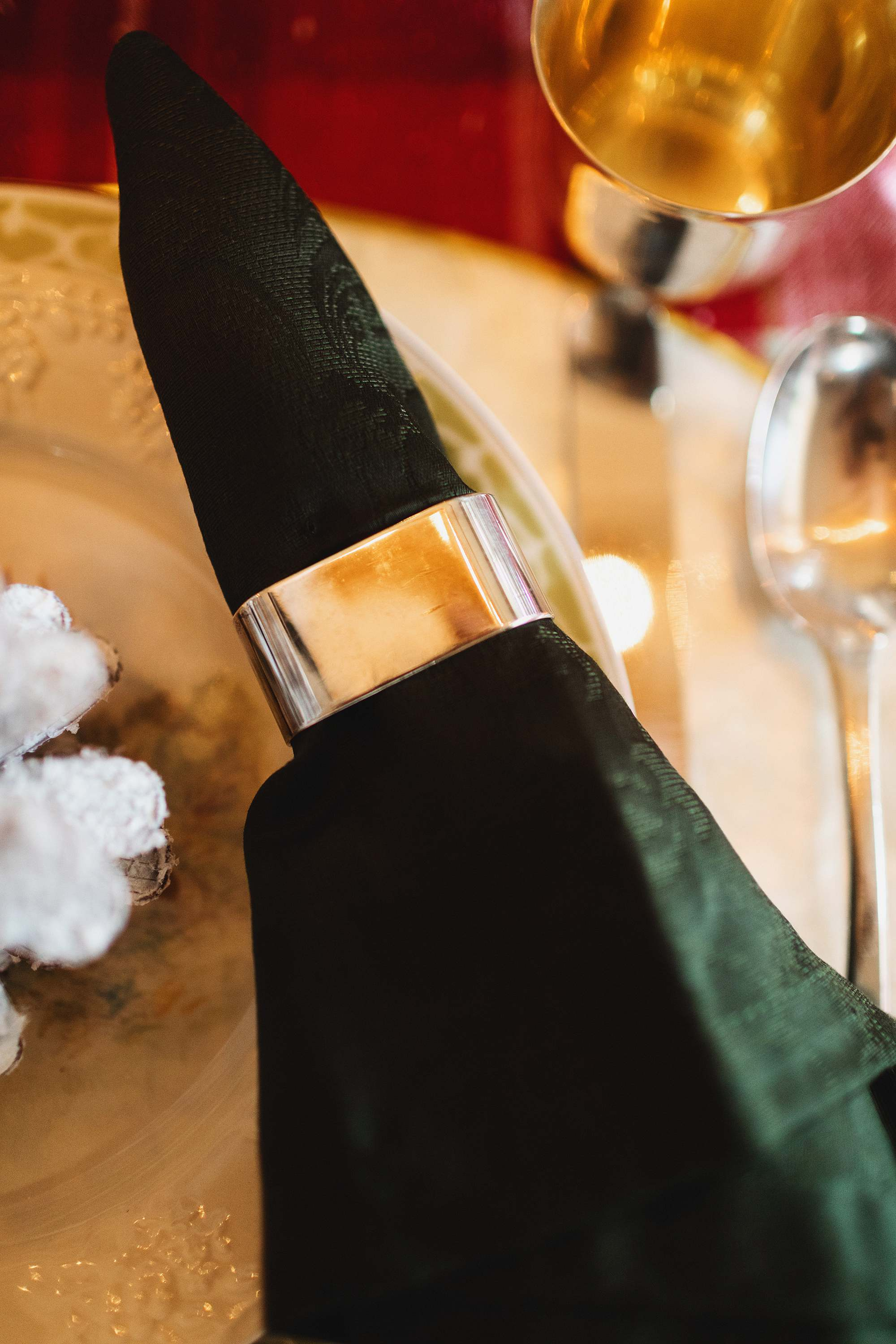 silver napkin ring holder christmas