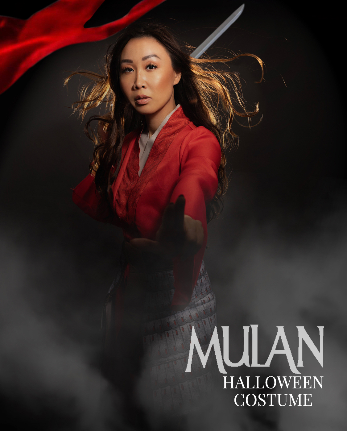 Mulan halloween costume idea inspiration Mulan pose fighting pose photoshop