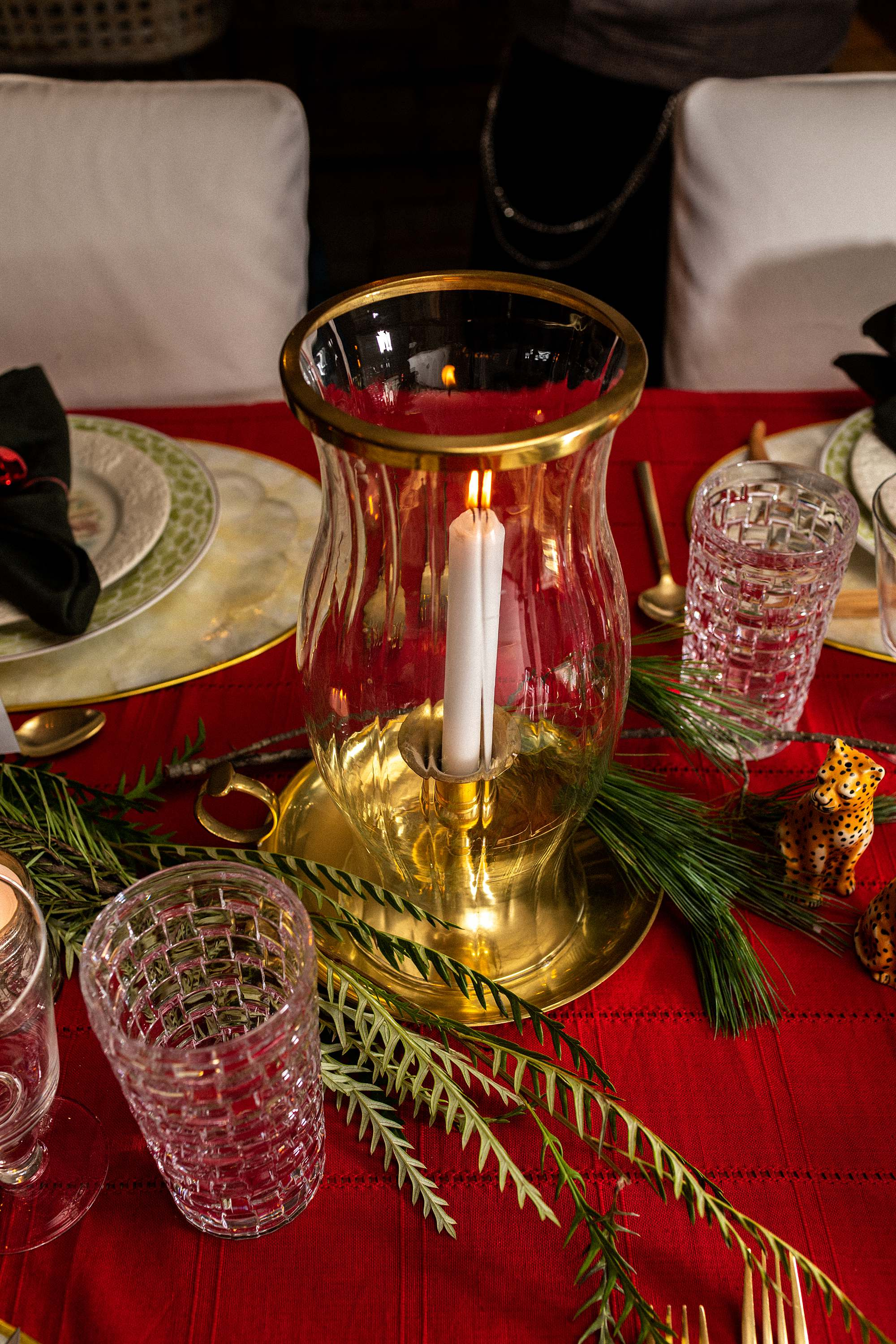 vintage brass candle hurricane christmas tablescape decor red tablecloth