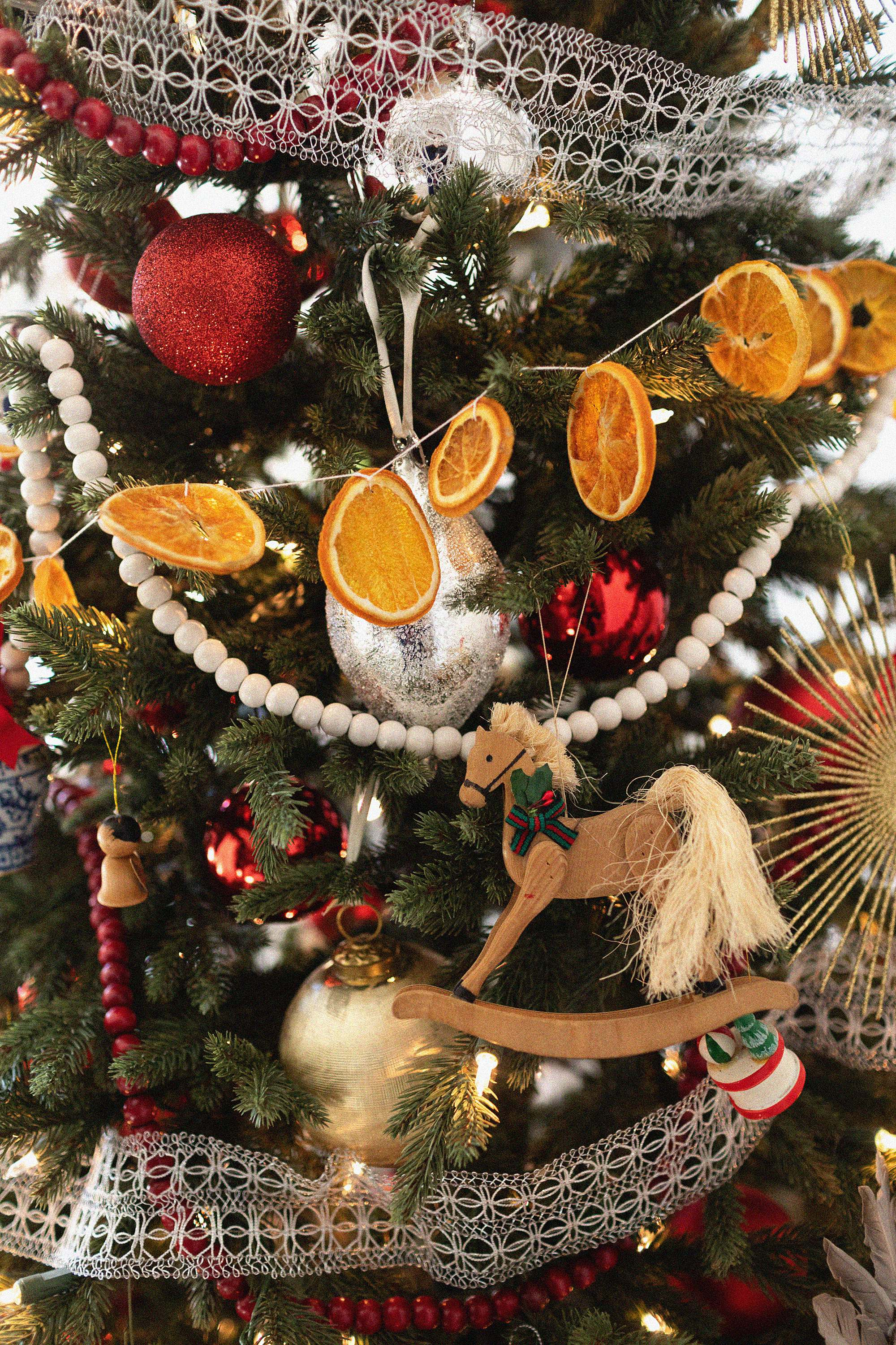 wooden horse ornament handmade with orange slices