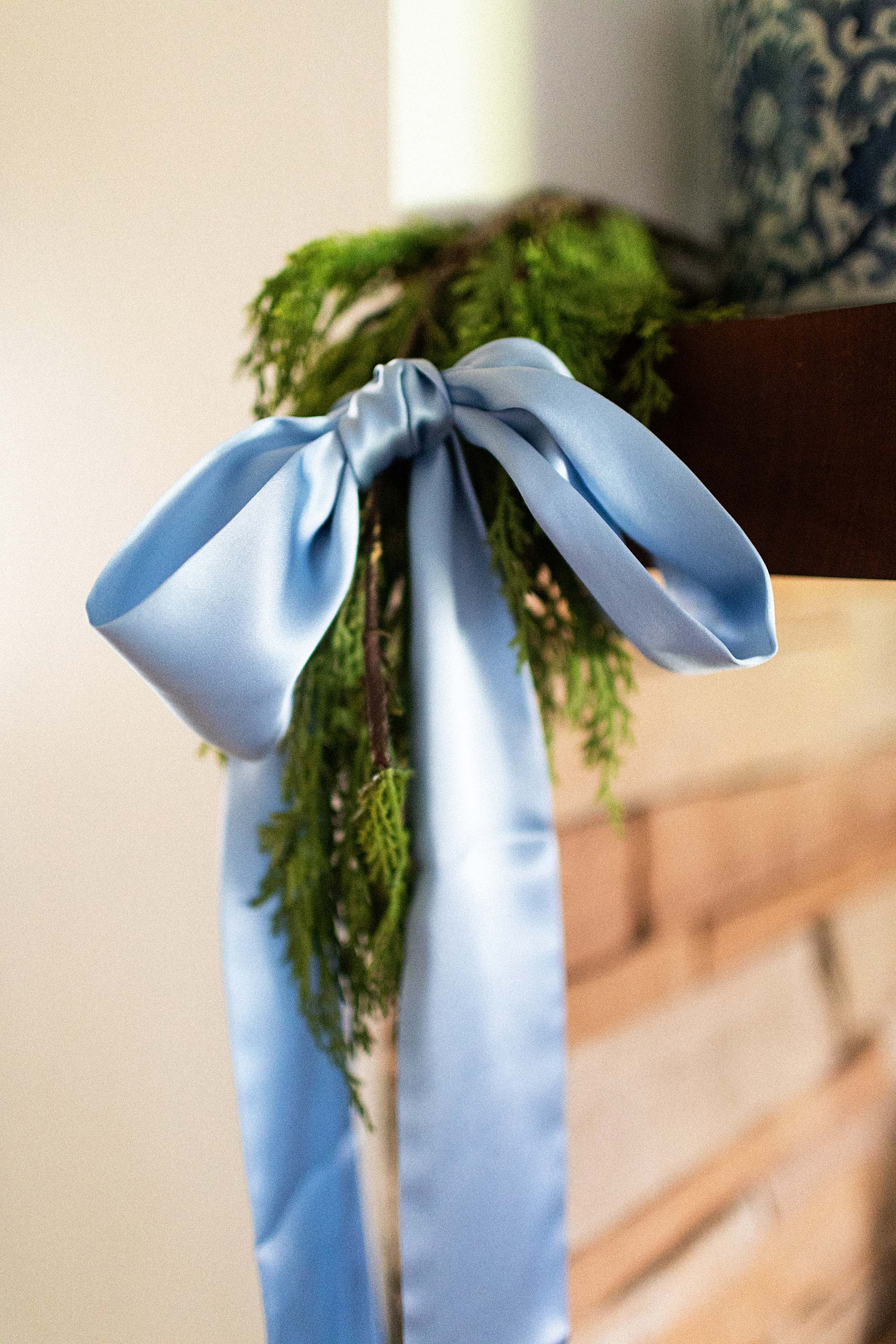 blue bow on mantel