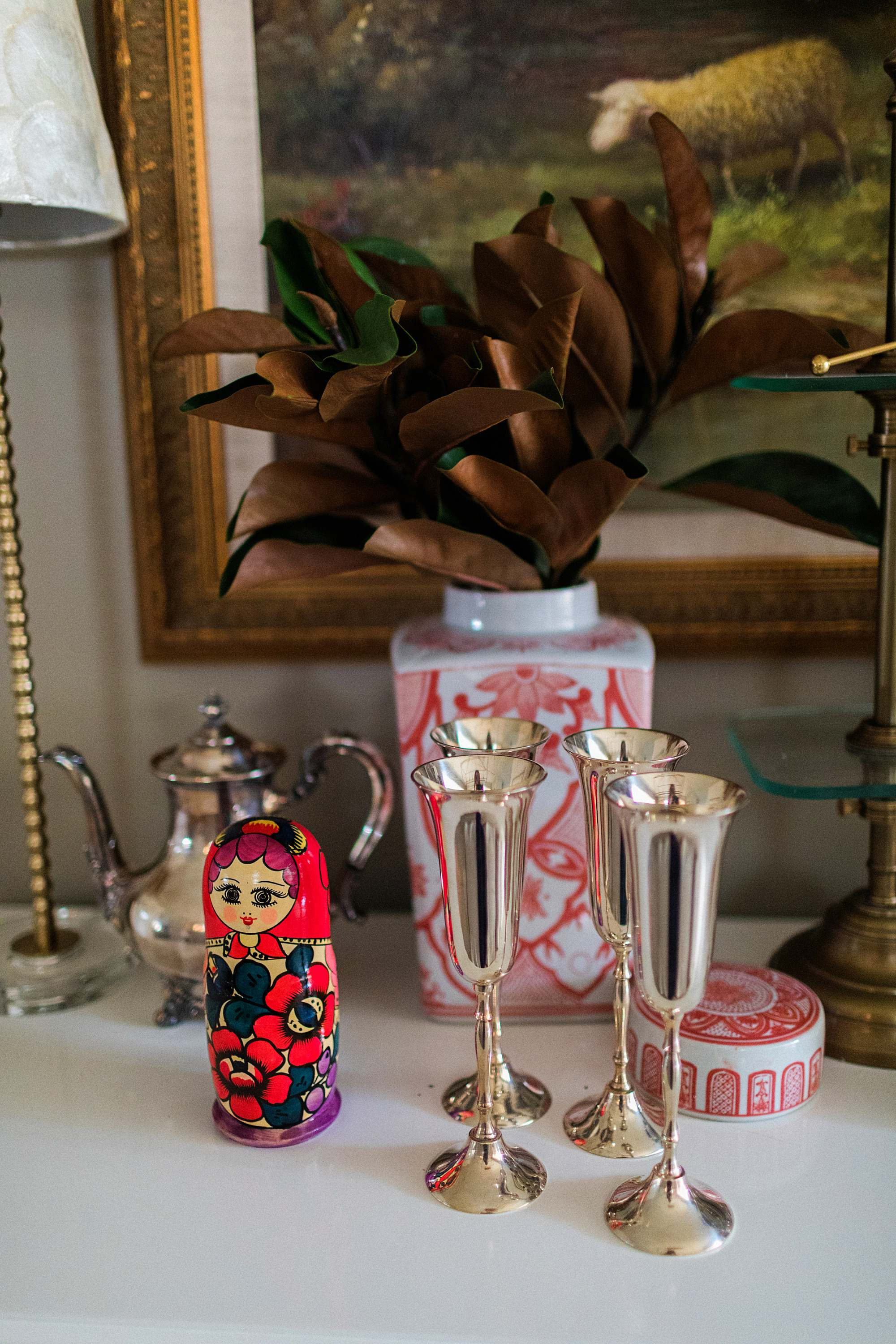 Russian doll silver champagne flutes