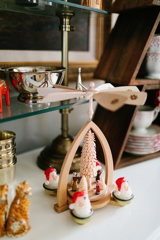 German candle mobile for Christmas Santa tea lights