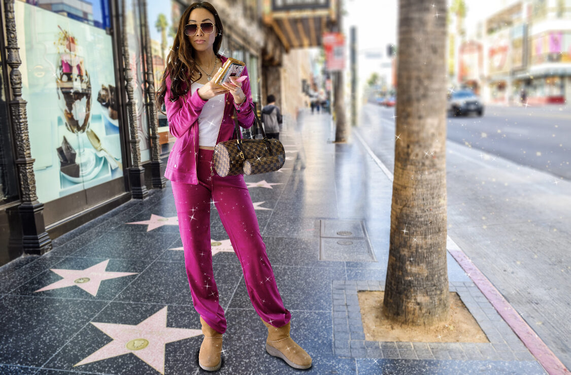 pink velour set early 2000s trend velour tracksuit is back