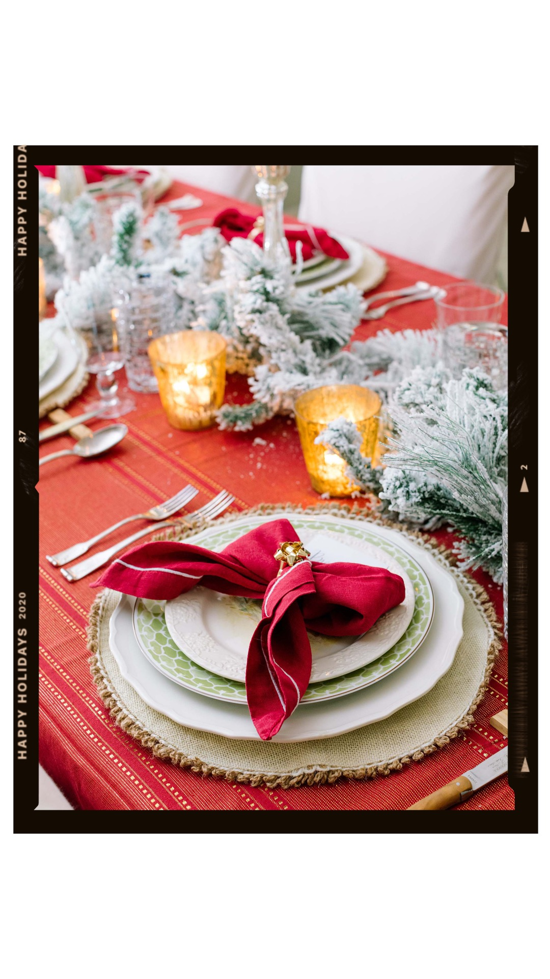 traditional red and gold tablescape flocked garland