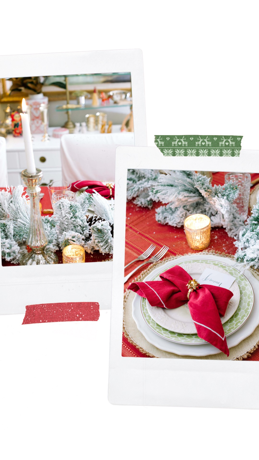 christmas tablescape red bow napkins traditional flocked garland