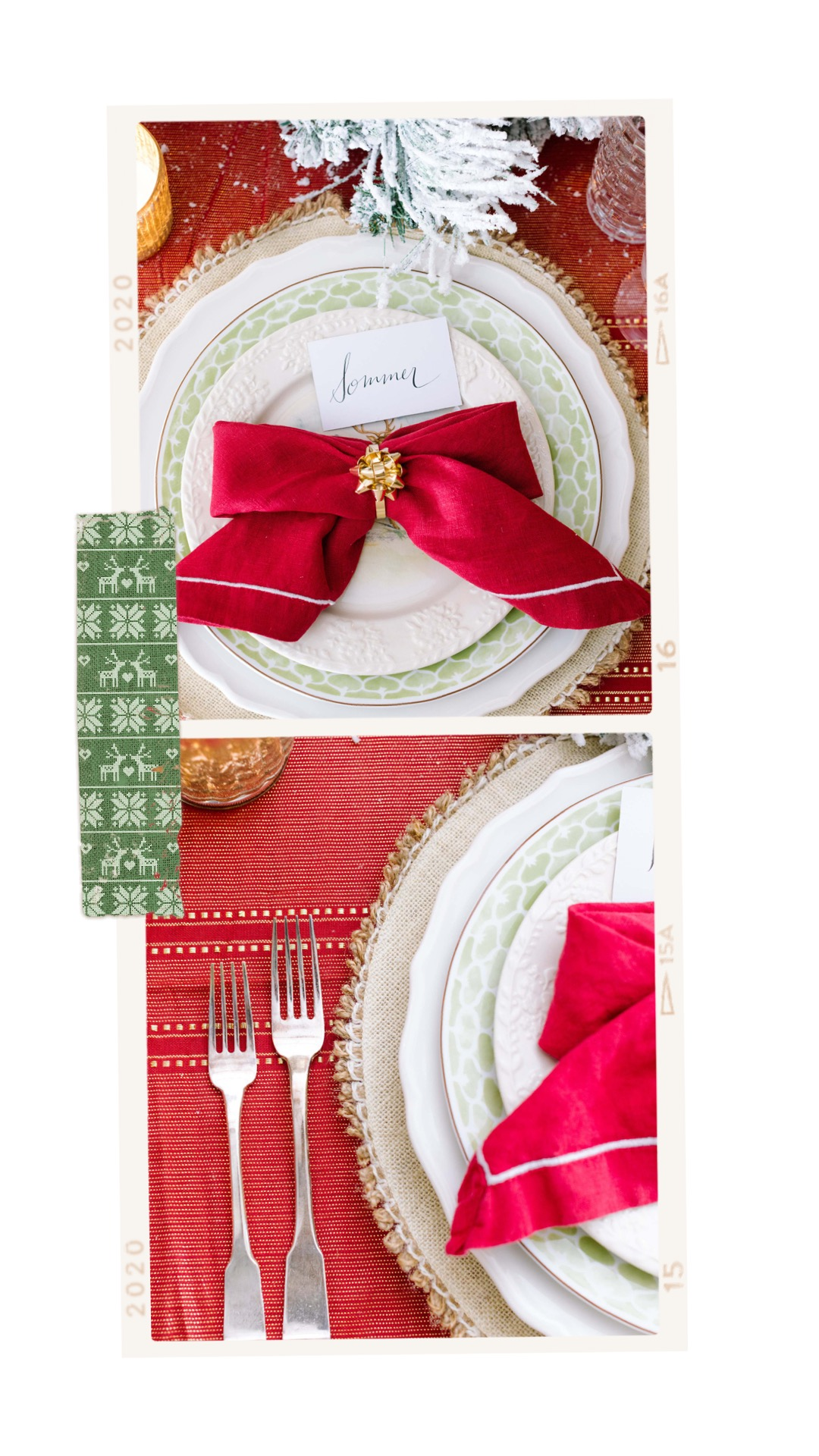 christmas tablescape red bow napkins traditional