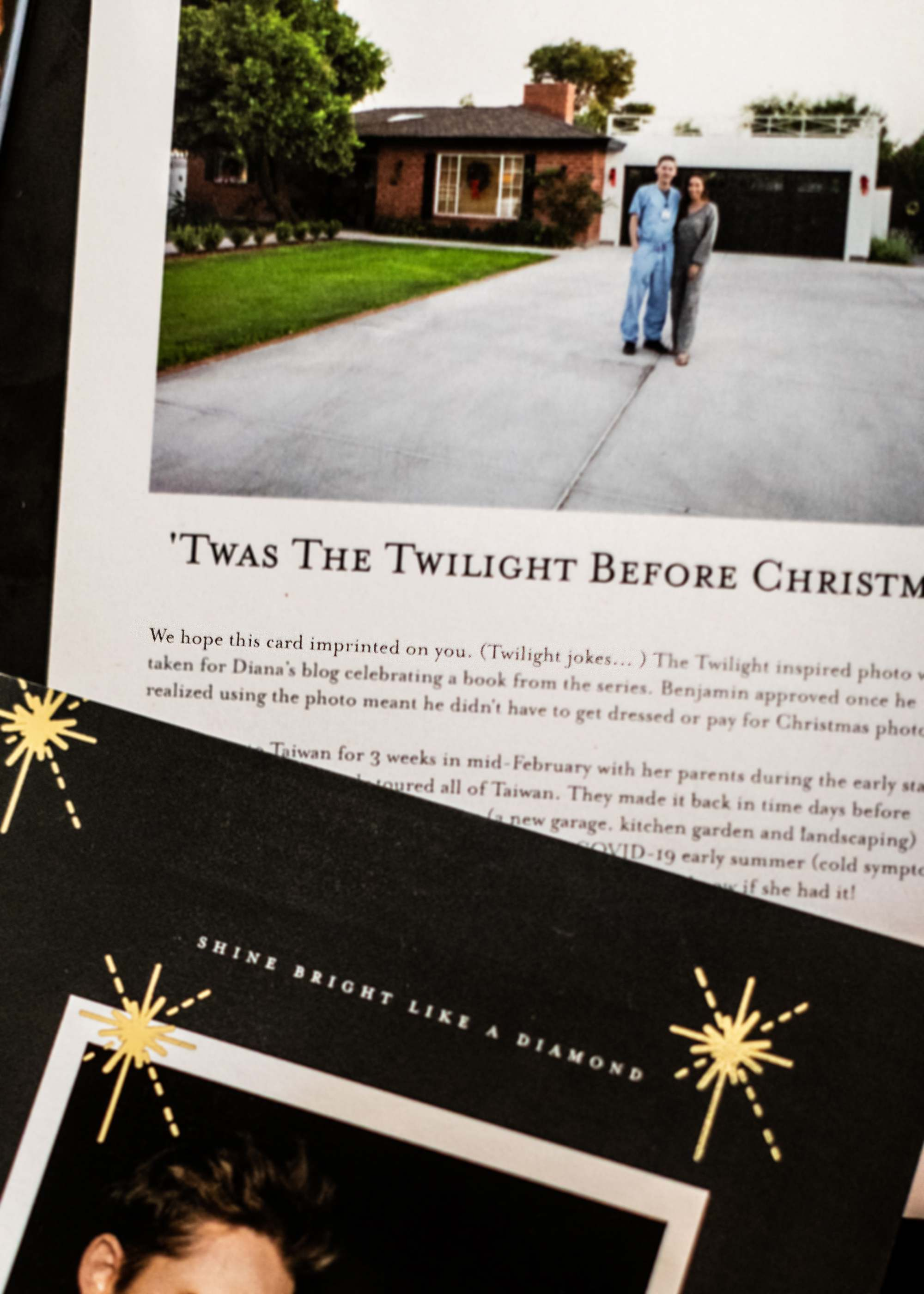 Twilight themed Christmas card Edward Bella holiday card