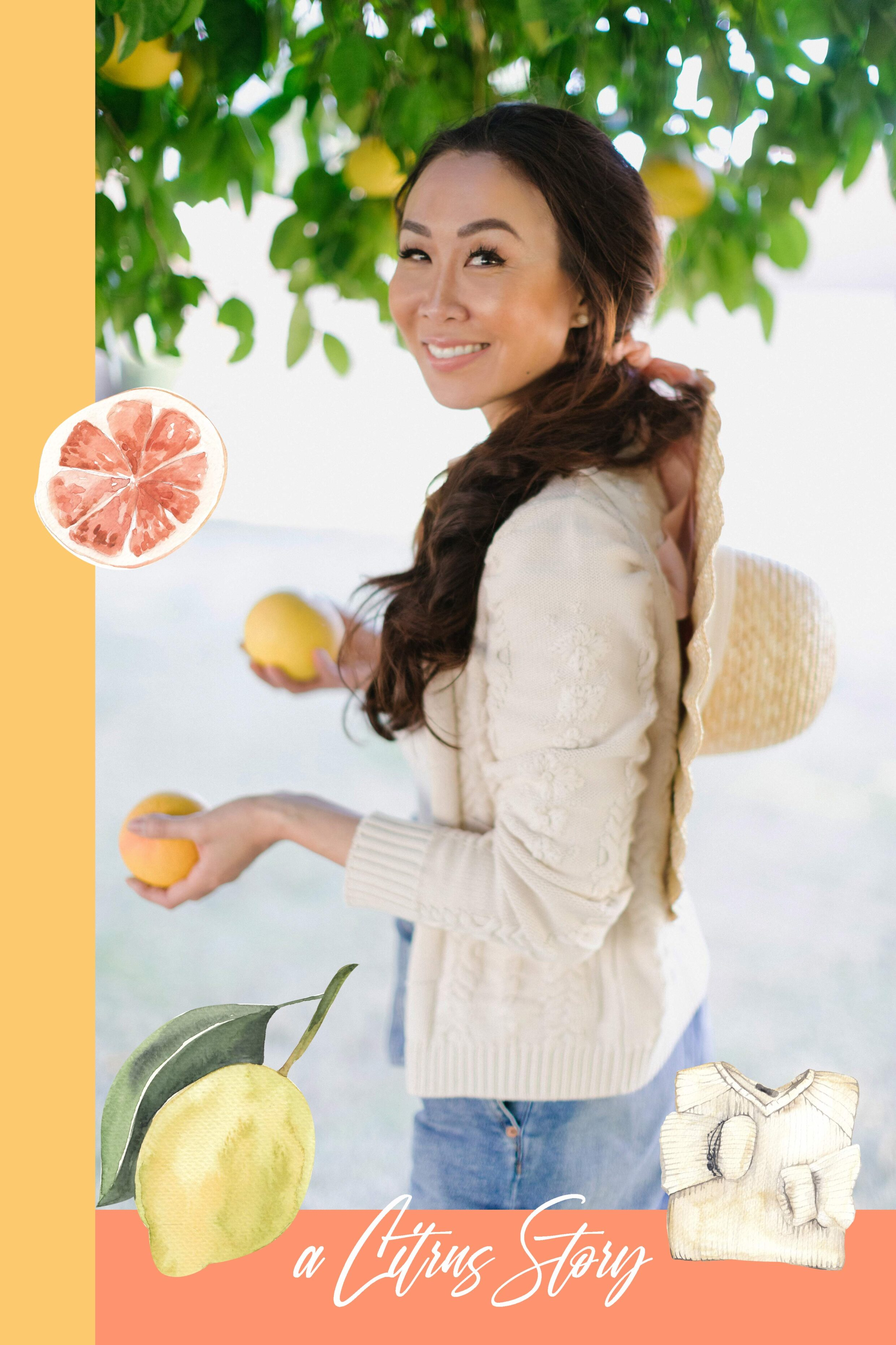 citrus picking model wearing scalloped hat and odd Molly cardigan