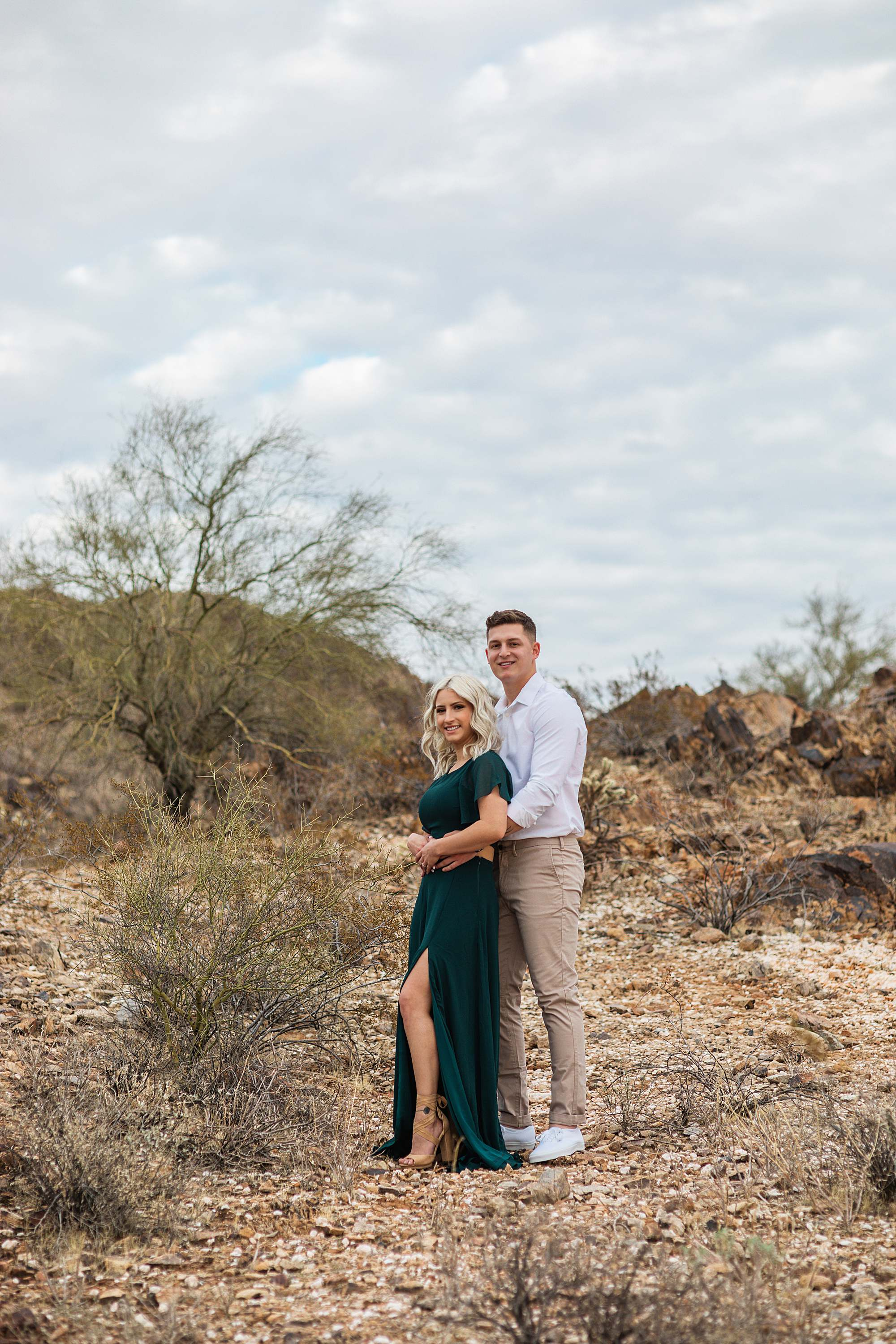 engagement session couple pose Phoenix Arizona engagement photographer green long dress engagement dress wardrobe idea