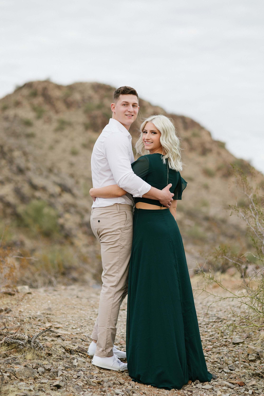 engagement session couple pose Phoenix Arizona engagement photographer green long dress engagement dress wardrobe idea