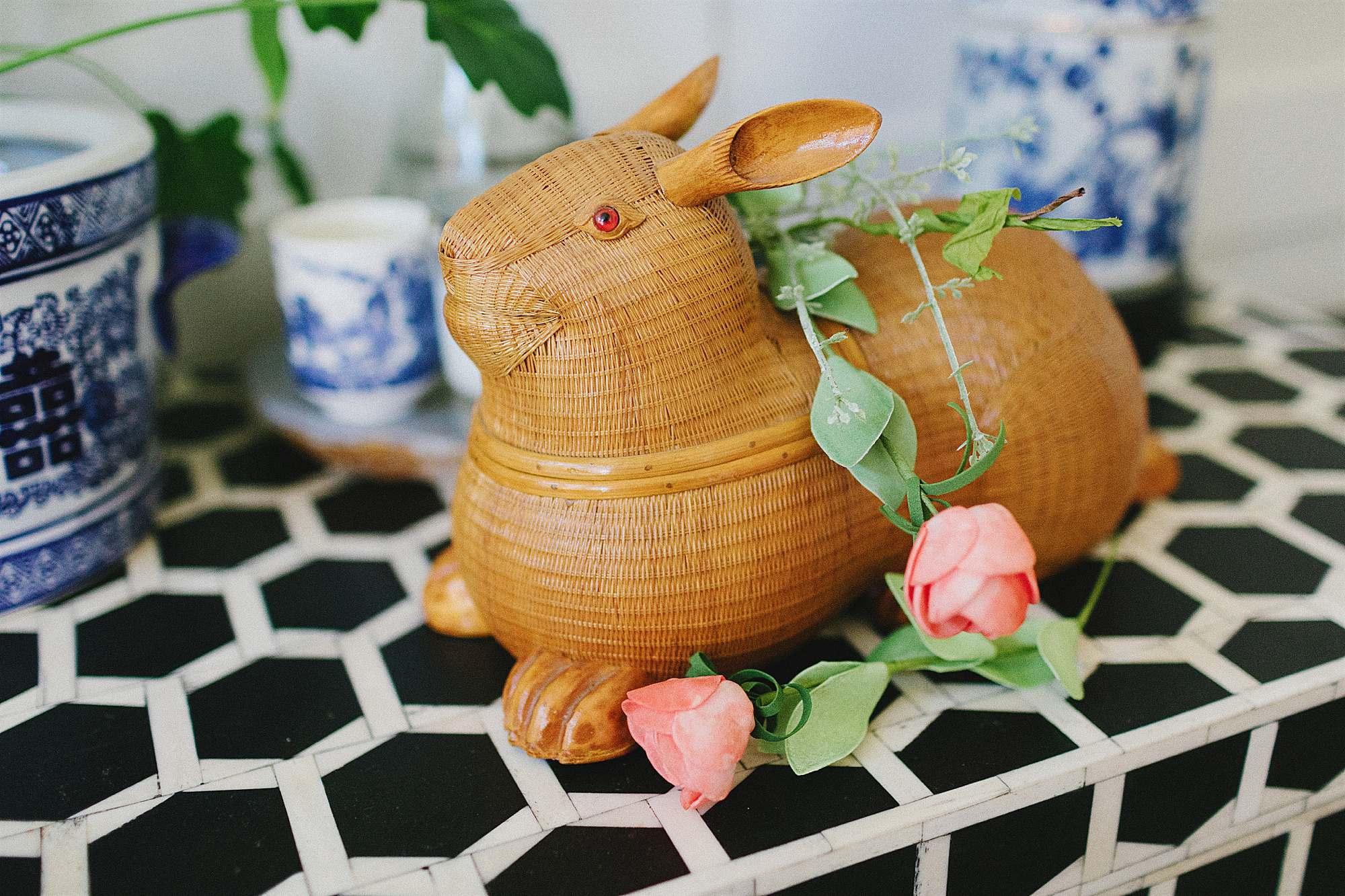 wicker animal basket Shanghai china vintage decor easter bunny basket
