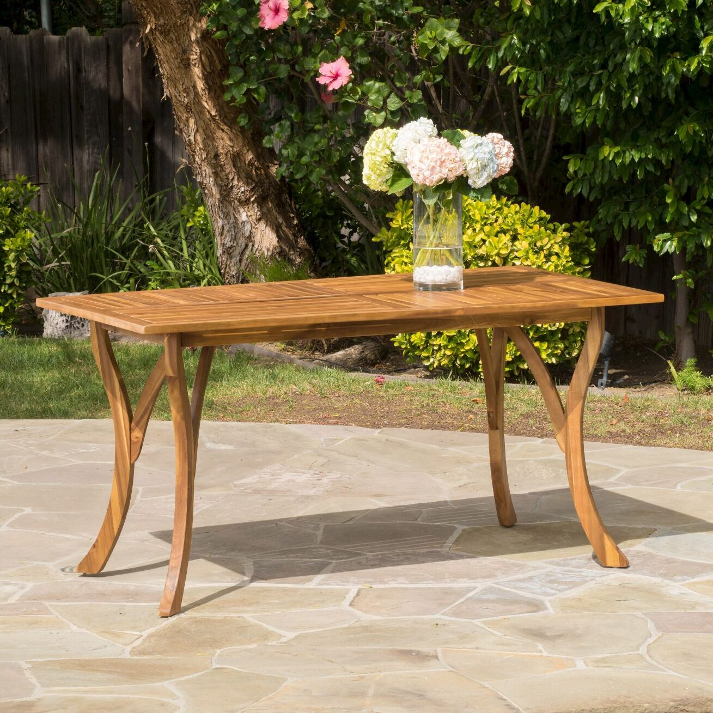 acacia wood table feminine English garden style