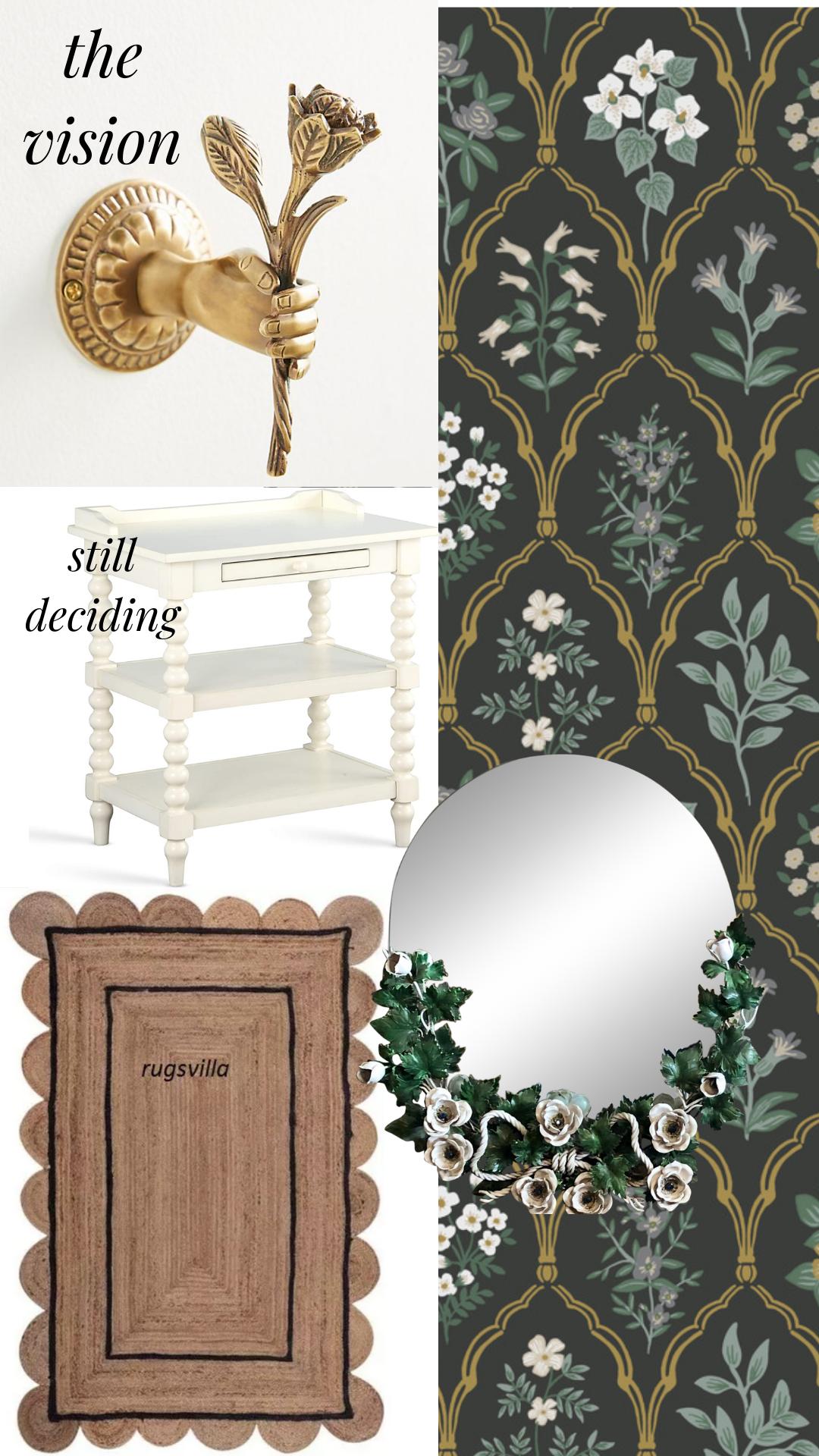 English cottage wallpaper laundry mudroom theme