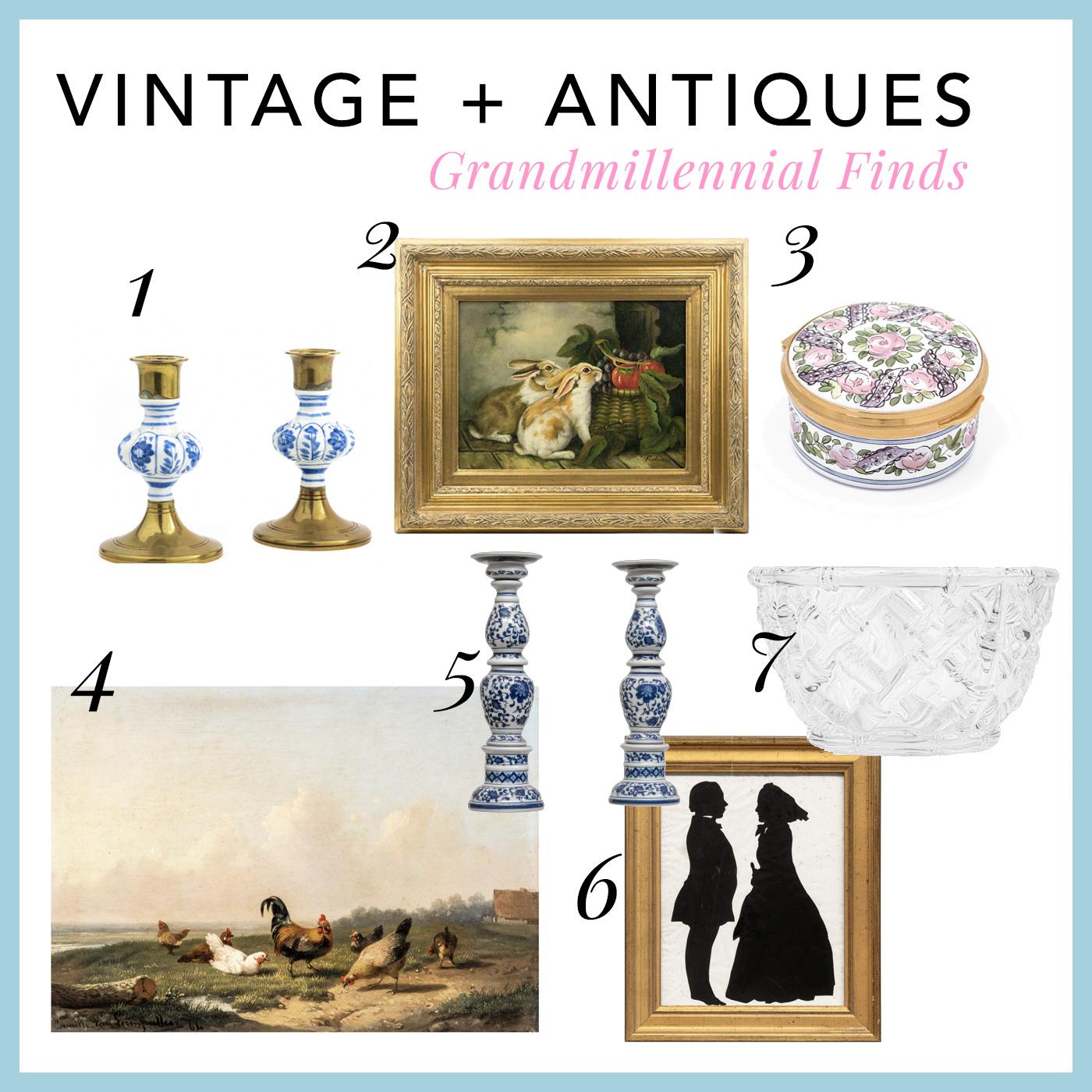 vintage and antique online store allthedecor.com - unique home decor finds decorative baskets, British boxes, vintage artwork, silhouettes, grandmillennial decor