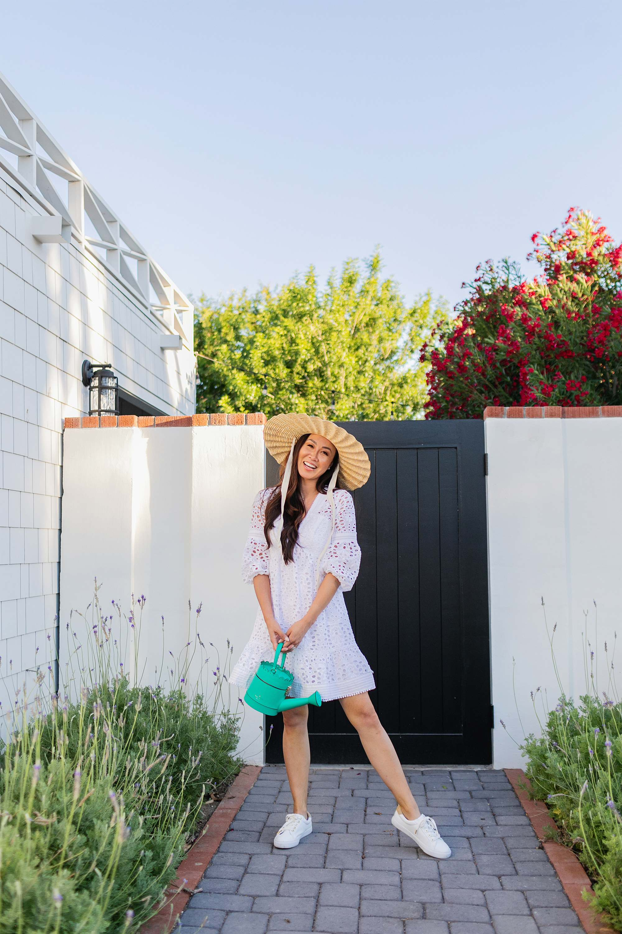 Lilly Pulitzer Lucinda Dress + Lux Hallie Sneaker with Kate Spade spring forward watering can