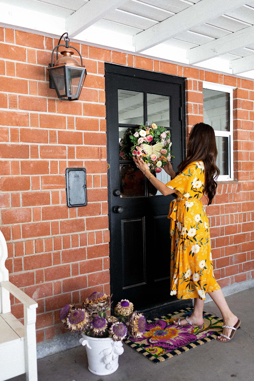 Mackenzie-childs front door wreath butterfly home decor blog phoenix Arizona Diana Elizabeth steffen