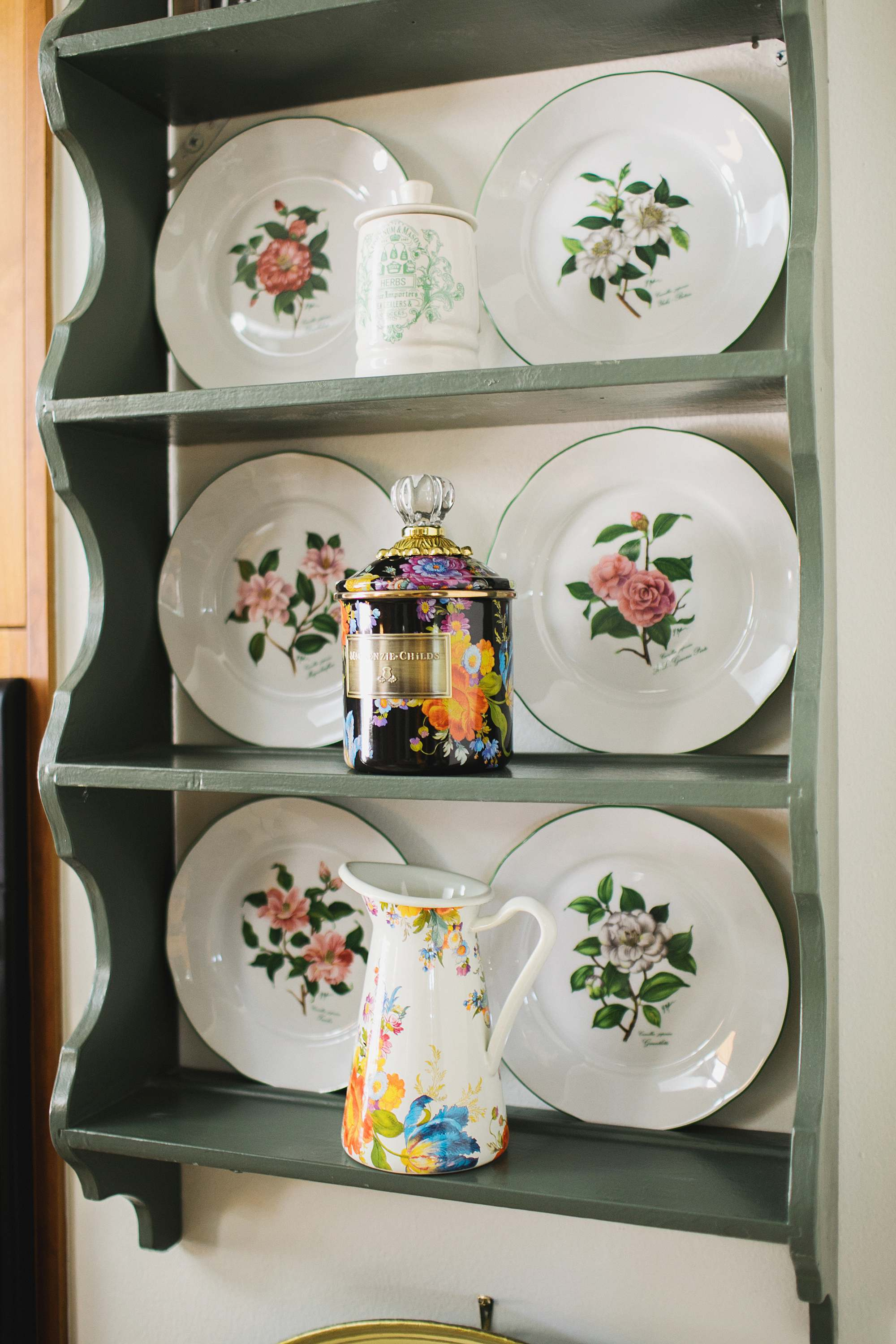 vintage plates and Mackenzie Childs flower market print canister and pitcher phoenix lifestyle and garden home blogger Diana Elizabeth