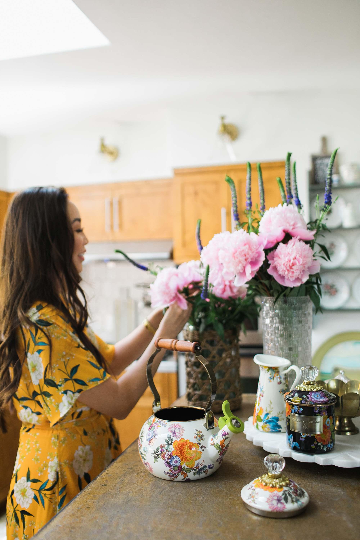 peonies yellow dress phoenix lifestyle home garden blogger using Mackenzie-childs in the kitchen