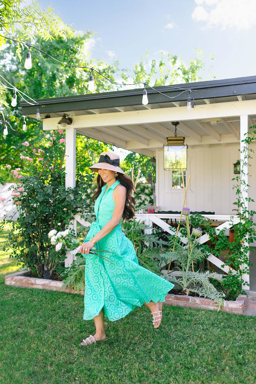 green eyelet dress, chrisella midi eyelet shirtdress by Lilly Pulitzer - women in the garden with gardening hat phoenix Arizona home and garden lifestye blogger