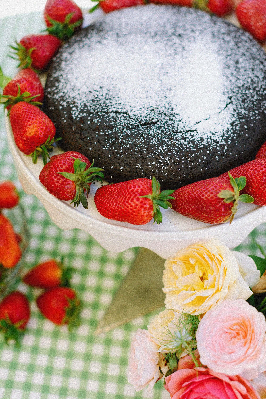grain free chocolate cake with strawberries