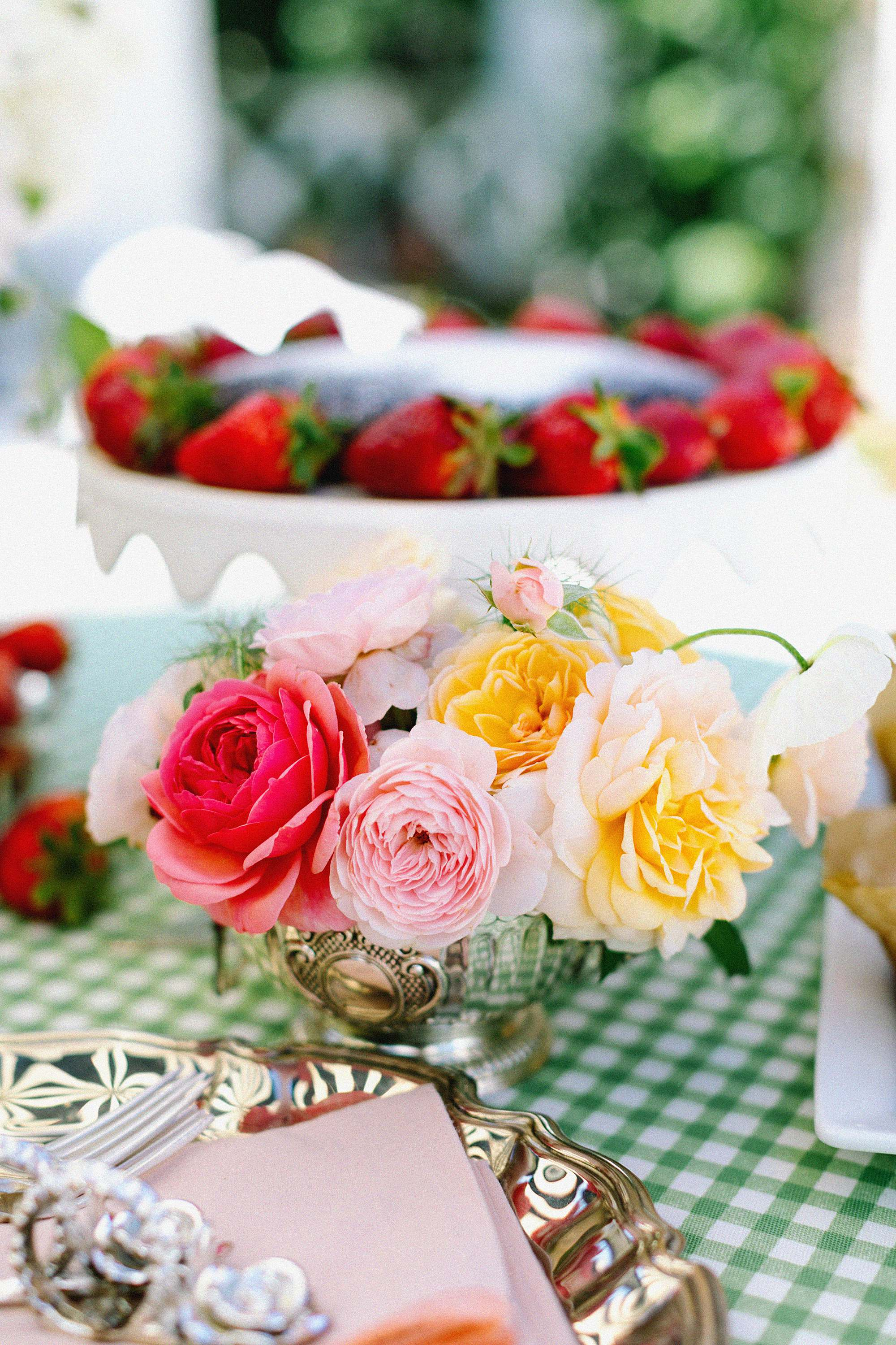 English garden roses with chocolate cake tea party